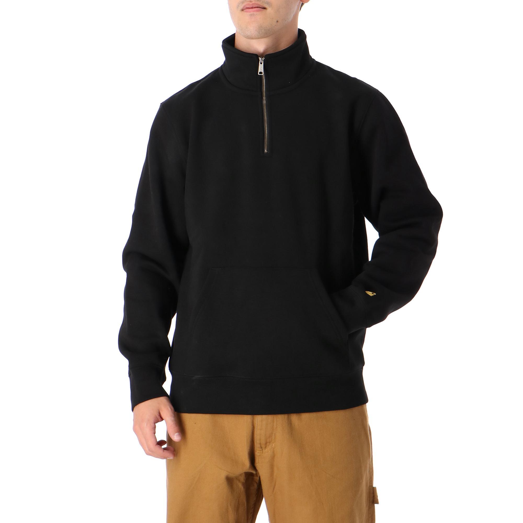 Chase Neck Zip Sweatshirt Black gold
