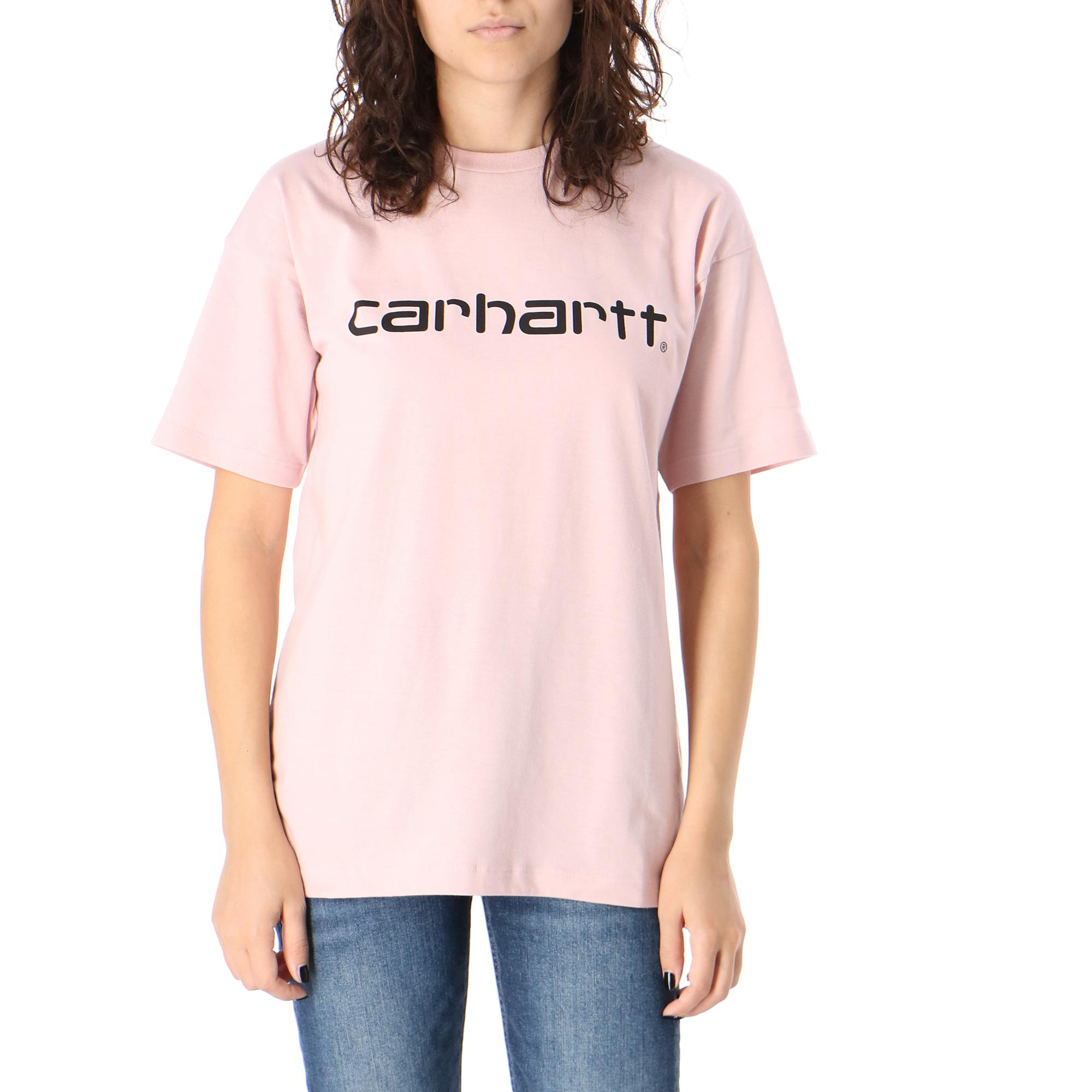Carhartt W S/s Script T-shirt Frosted pink black