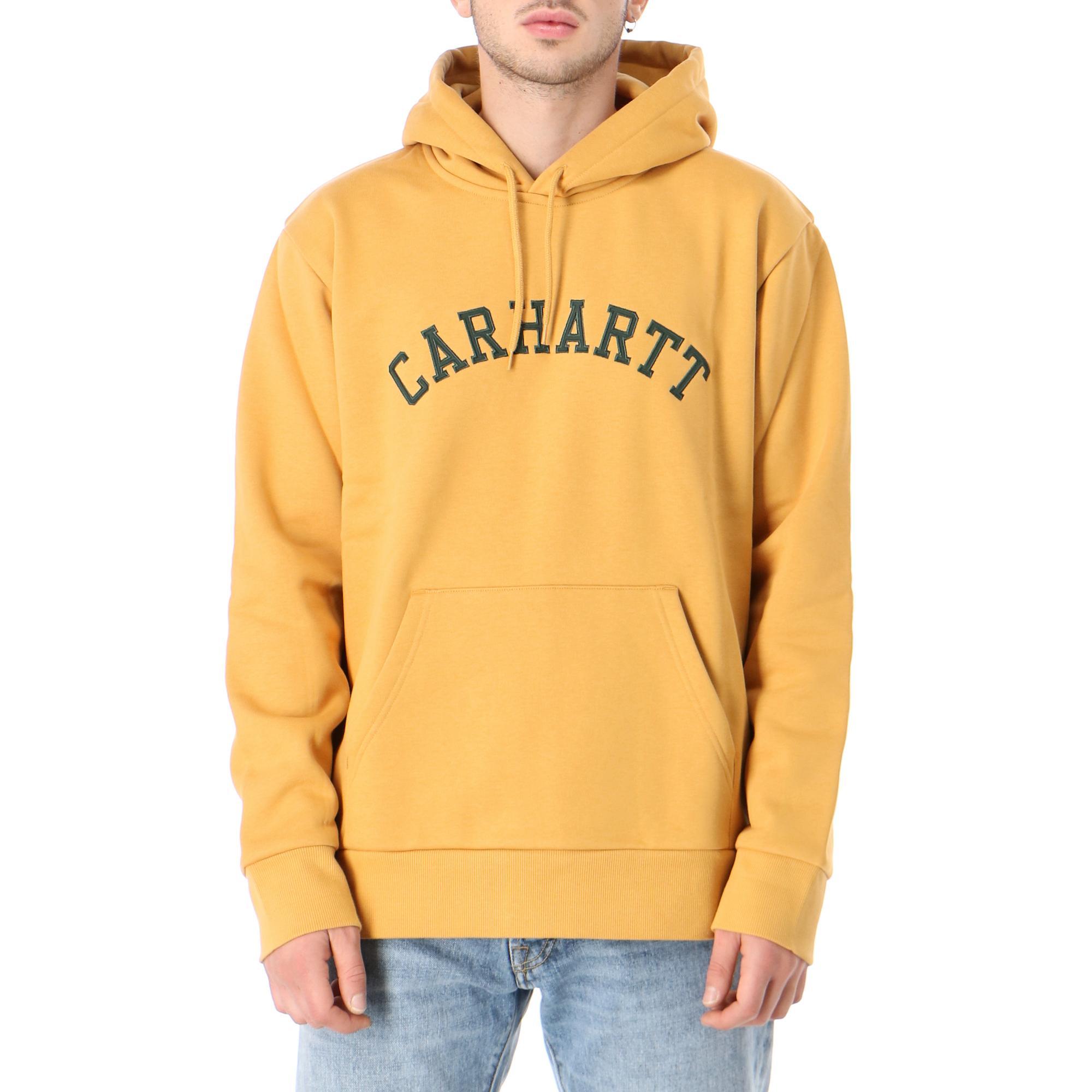 Carhartt Hooded Univeristy Patch Sweatshirt Winter sun bottle green
