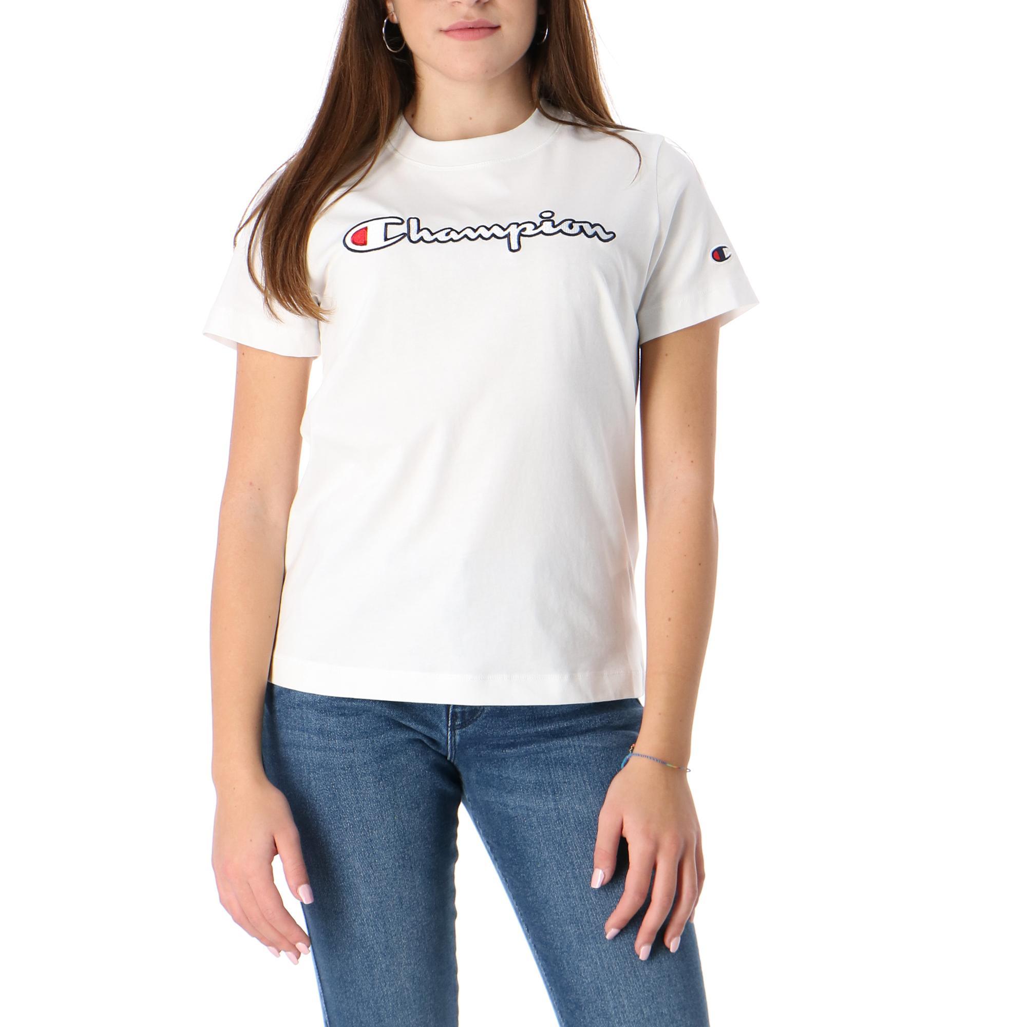 Champion Crewneck T Shirt WHITE