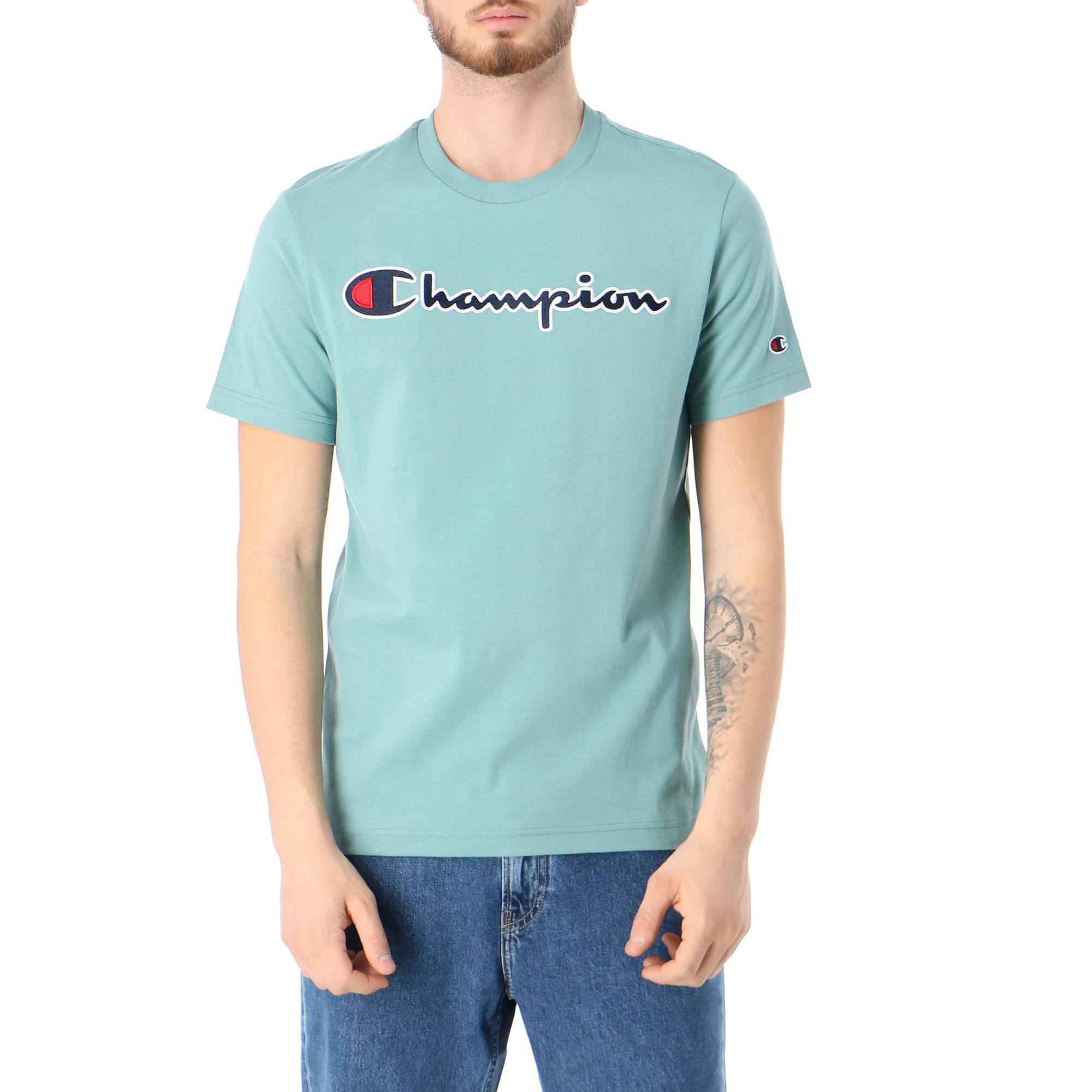 Champion Crewneck T Shirt Green pastel