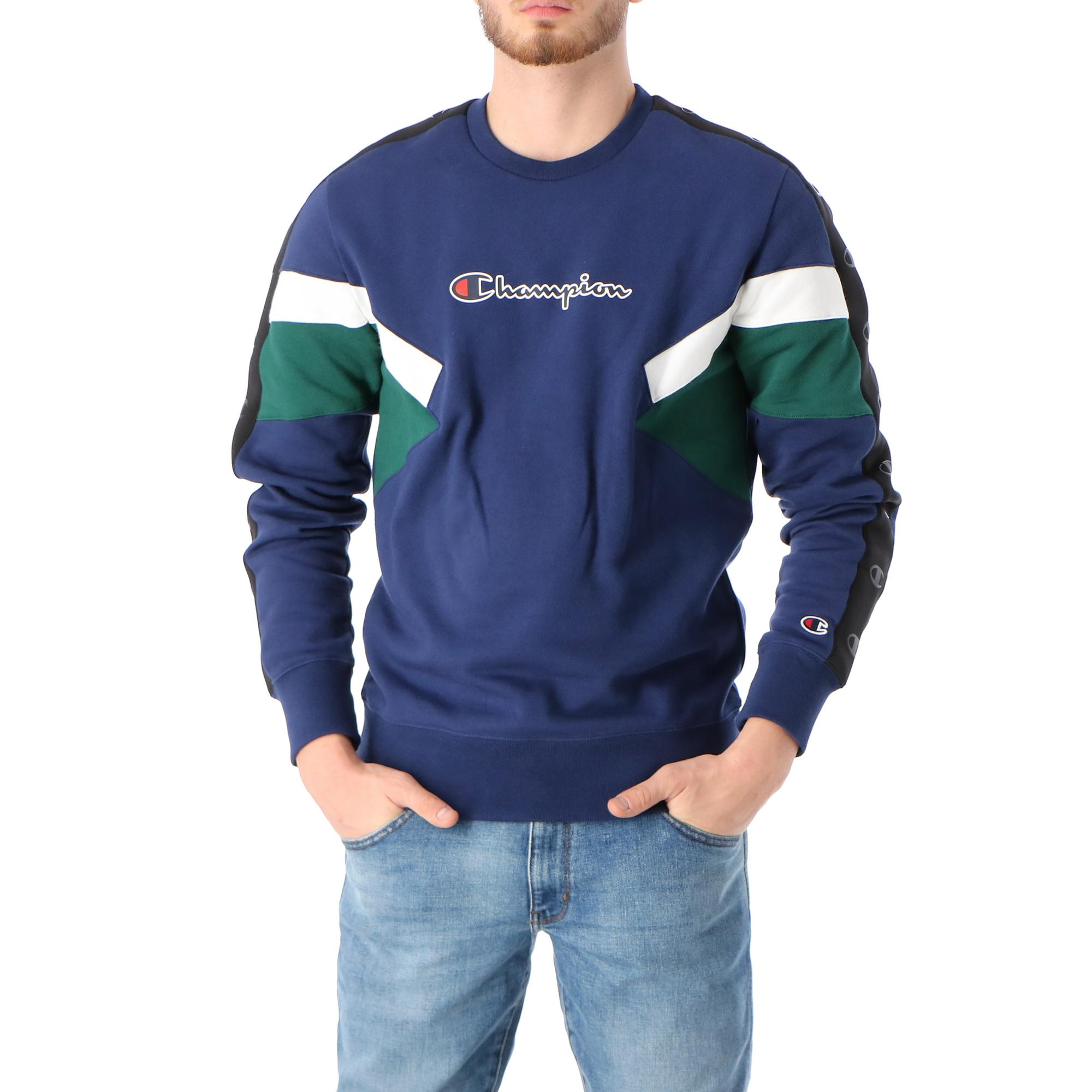 Champion Crewneck Sweatshirt Navy green bottle white
