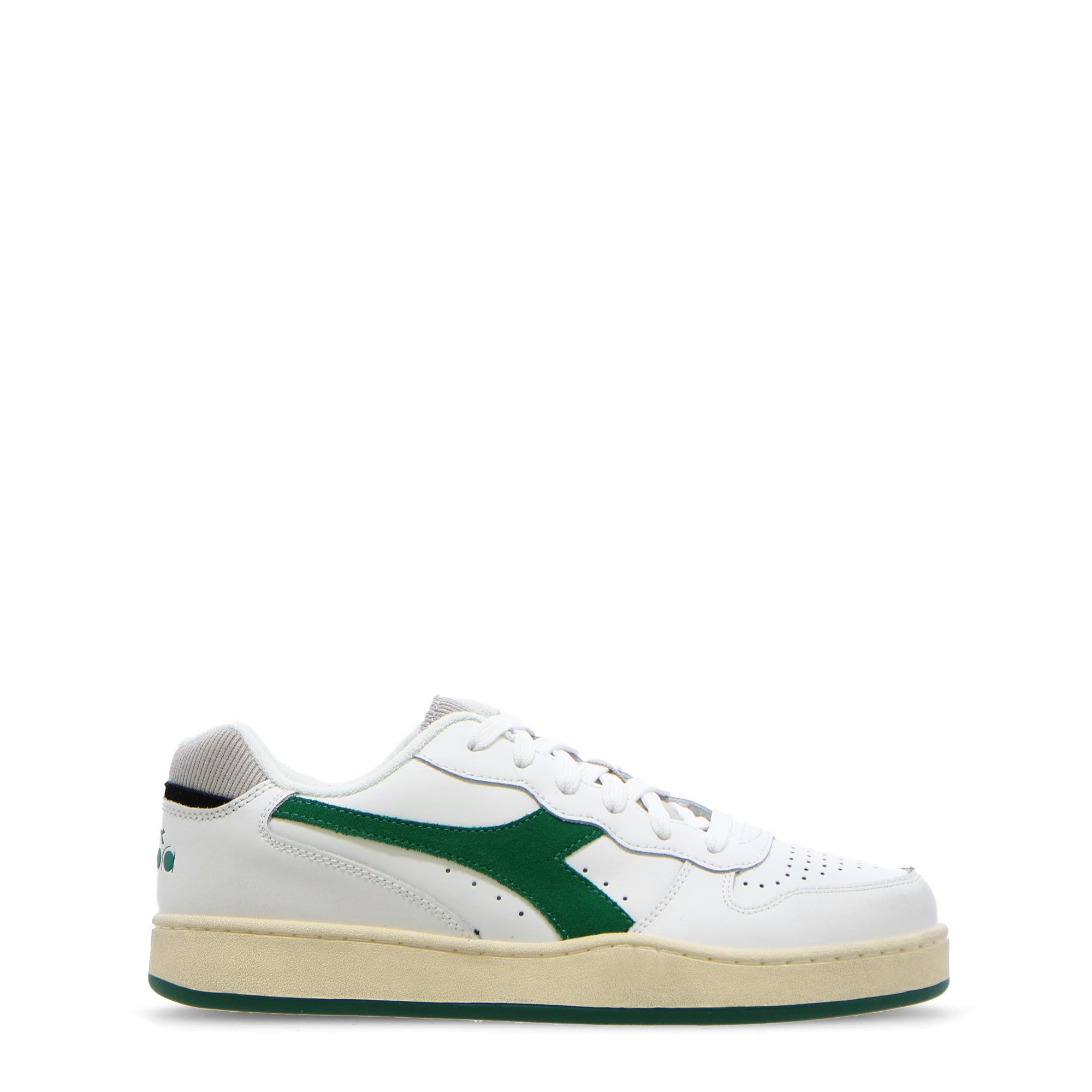 Diadora Mi Basket Low Used White verdant green