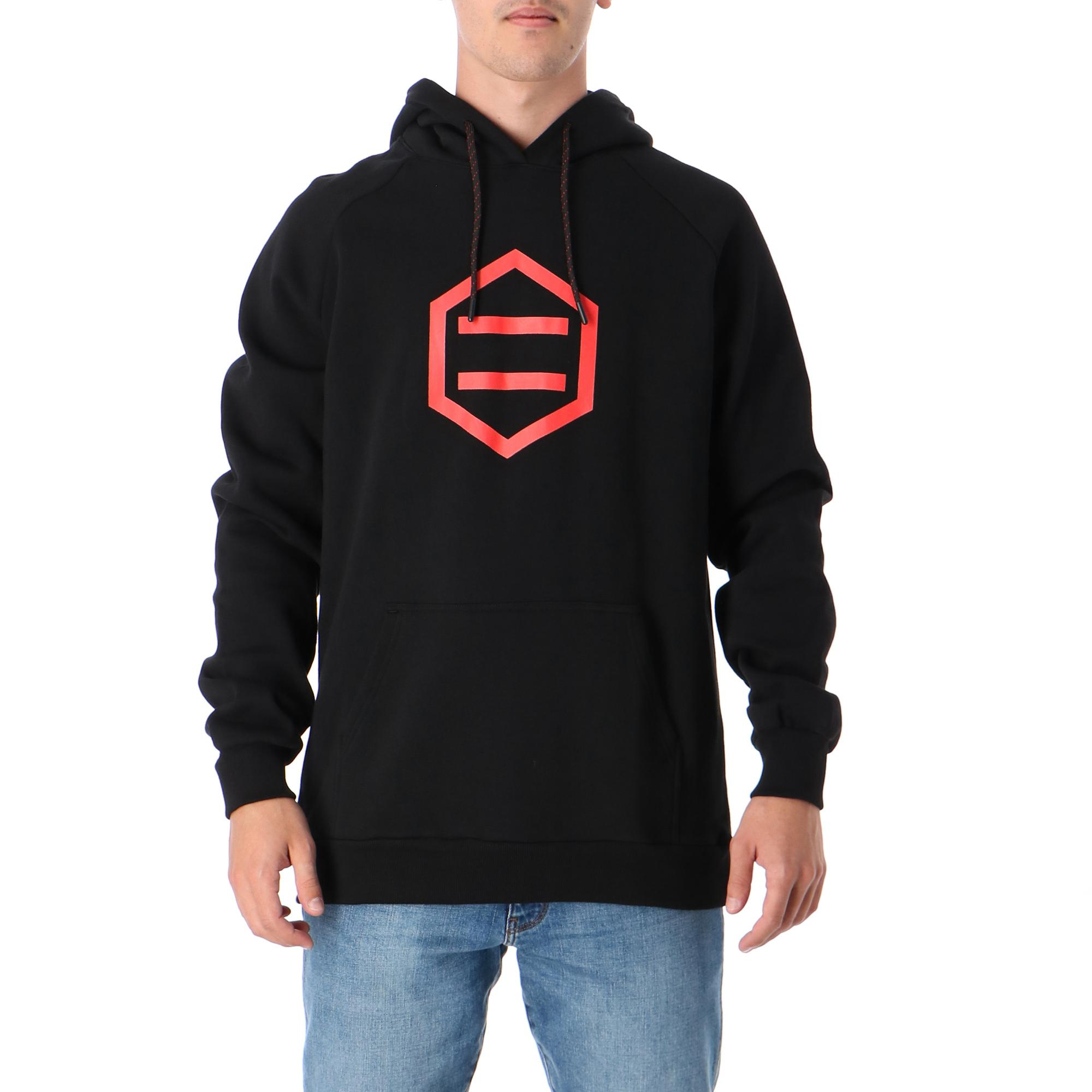 Dolly Noire Hexagon Black & Red Hoodie Black