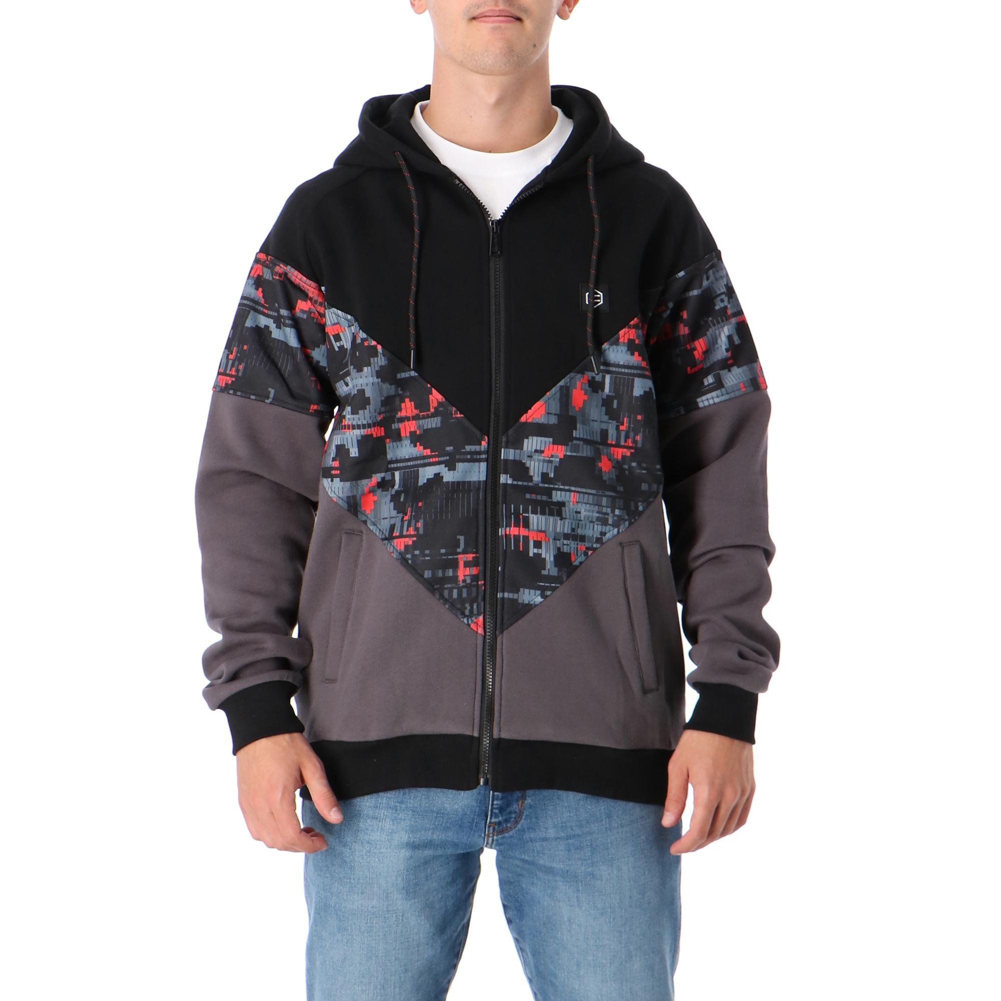 Dolly Noire Virtual Zip Hoodie Black grey