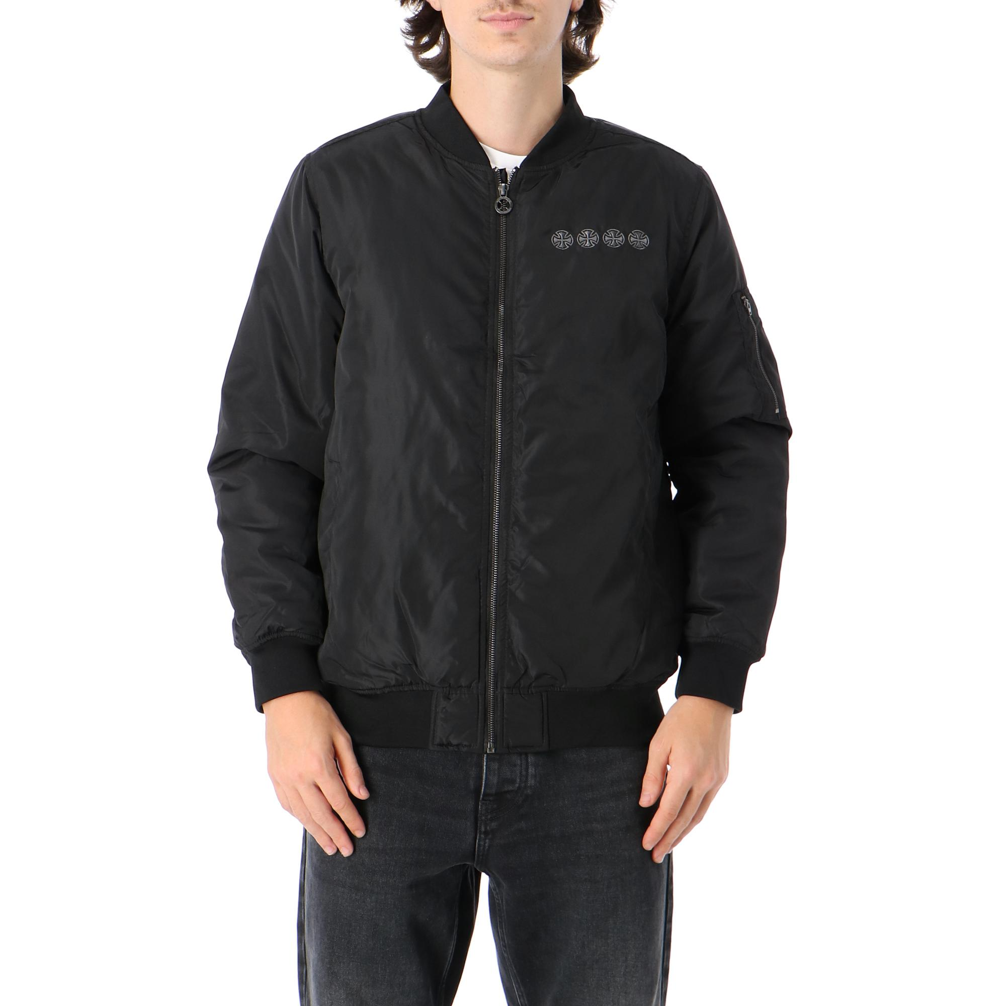 Independent Chain Cross Bomber Jacket Black