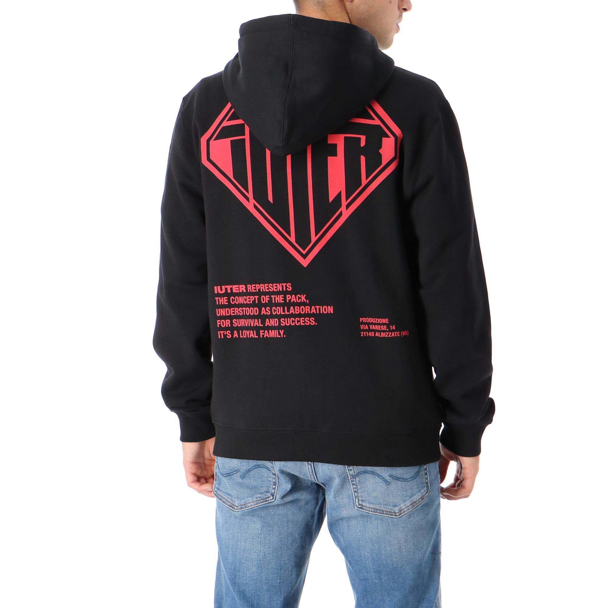 Double Logo Zip Hoodie Black