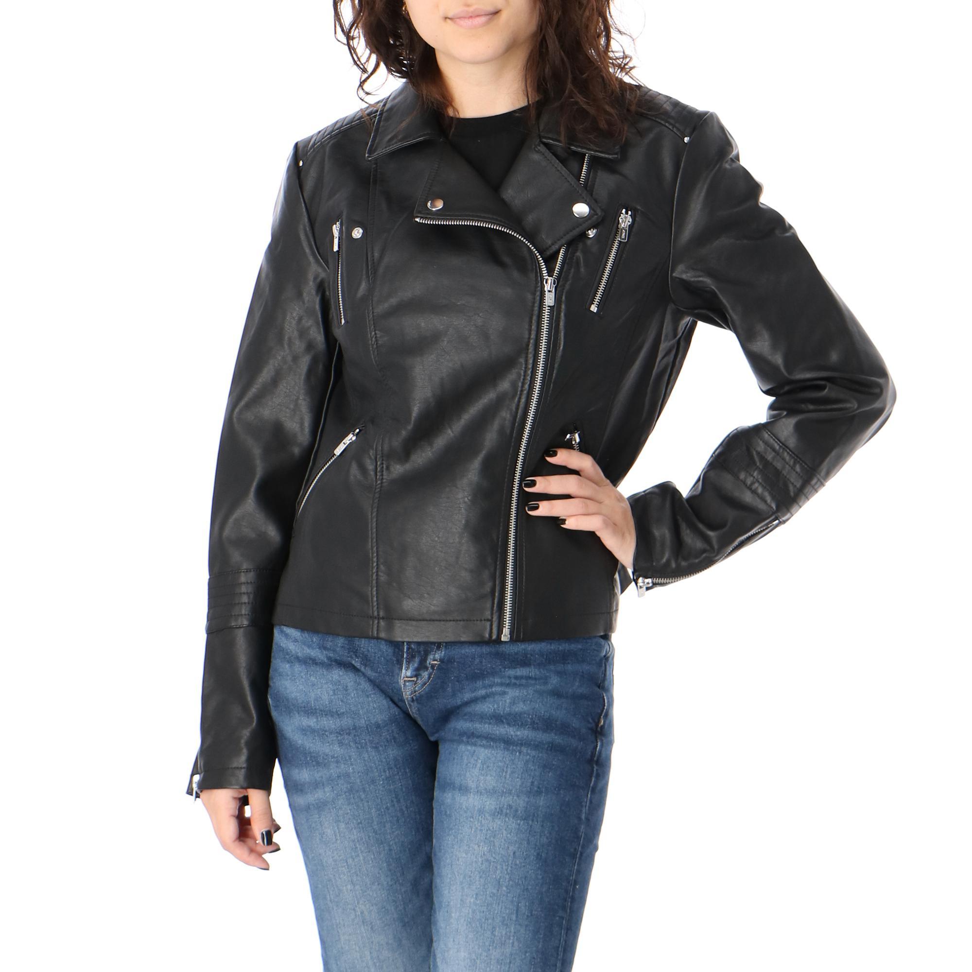Only Gemma Faux Leather Biker Otw Noos Black
