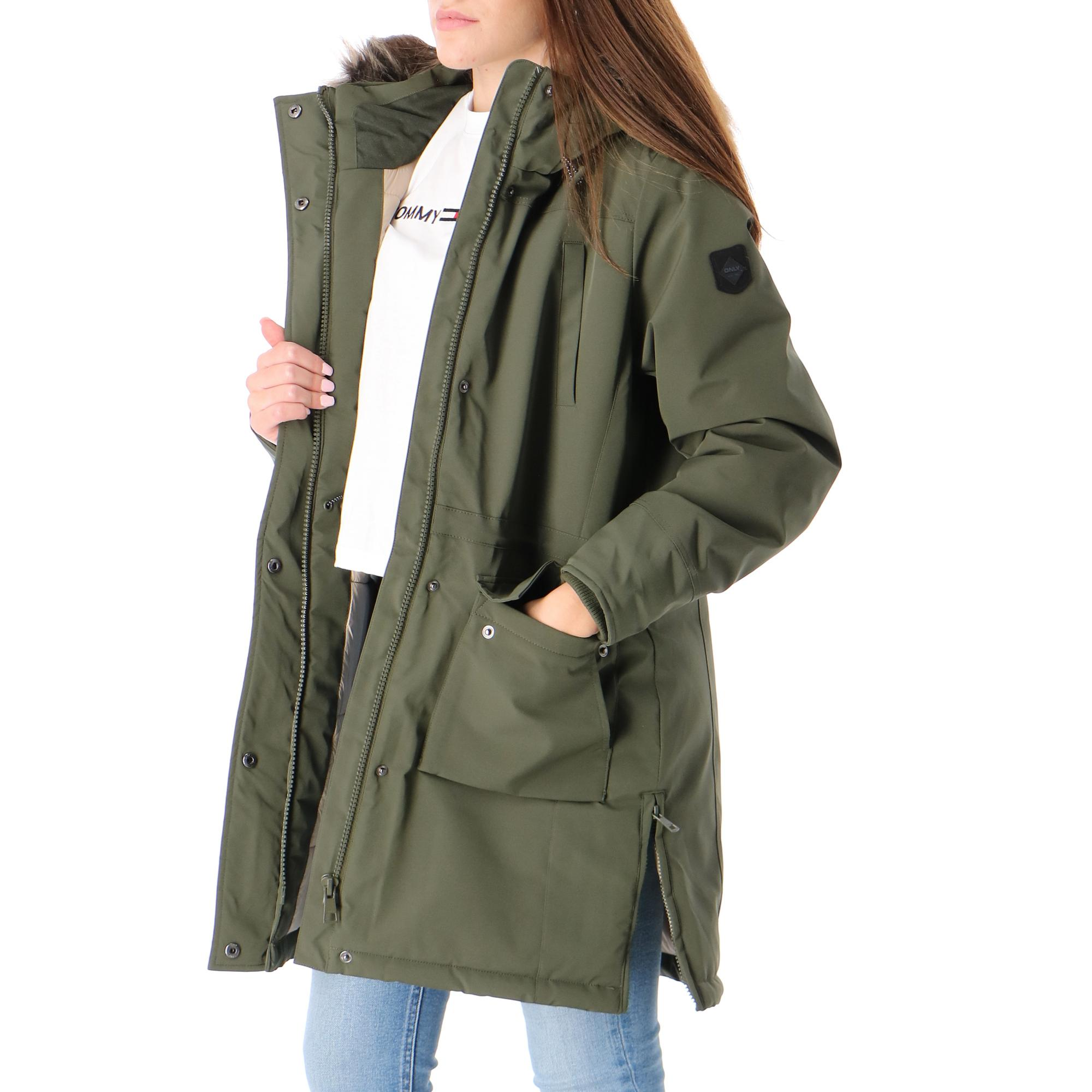 Only Onlnewsally Long Nylon Coat Jacket Otw FOREST NIGHT