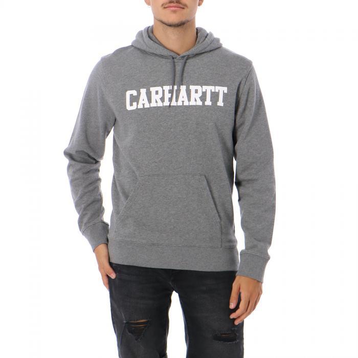 carhartt felpa cappuccio dark grey heather white