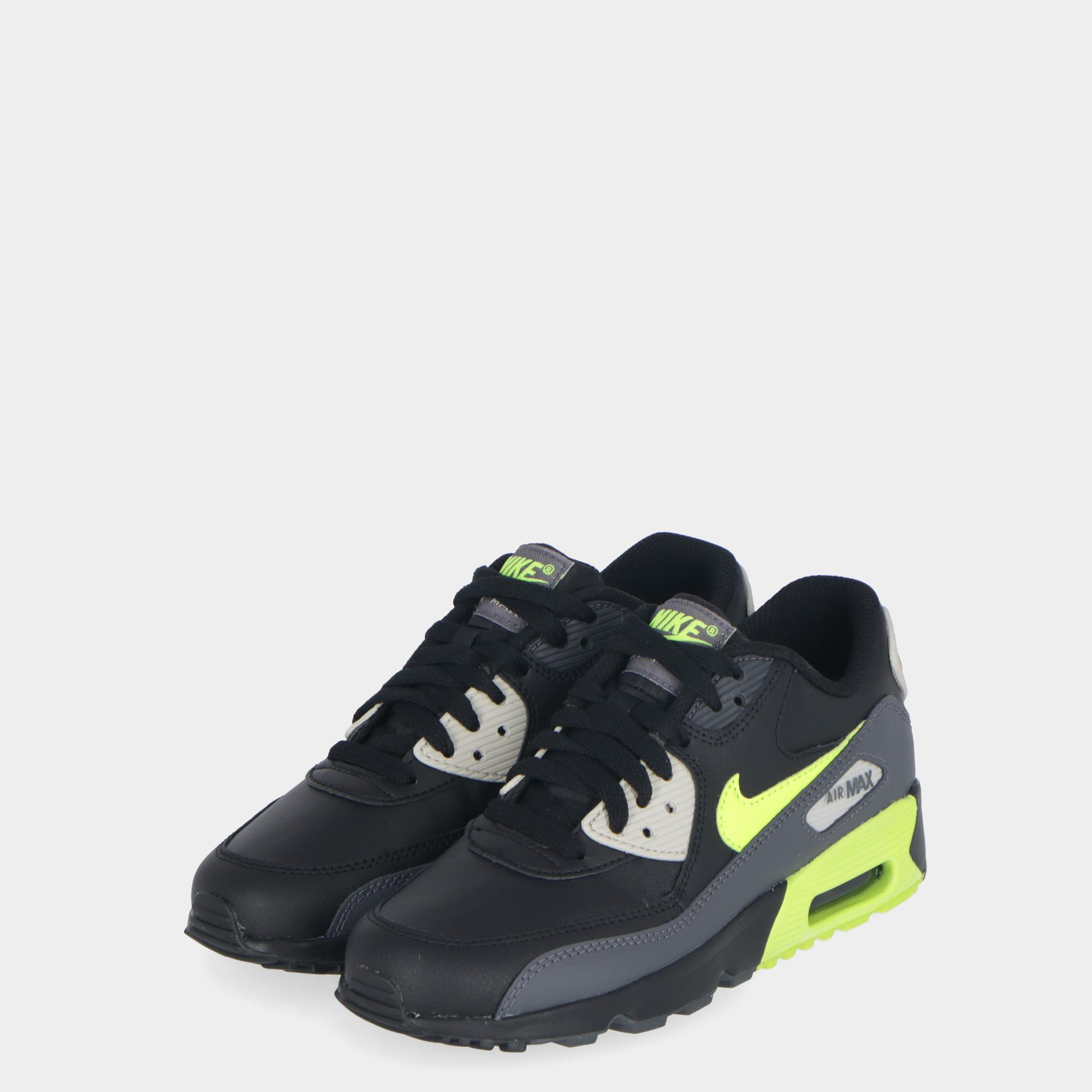 the best attitude 18580 779e6 Nike Air Max 90 Leather (gs) - Kids D grey volt