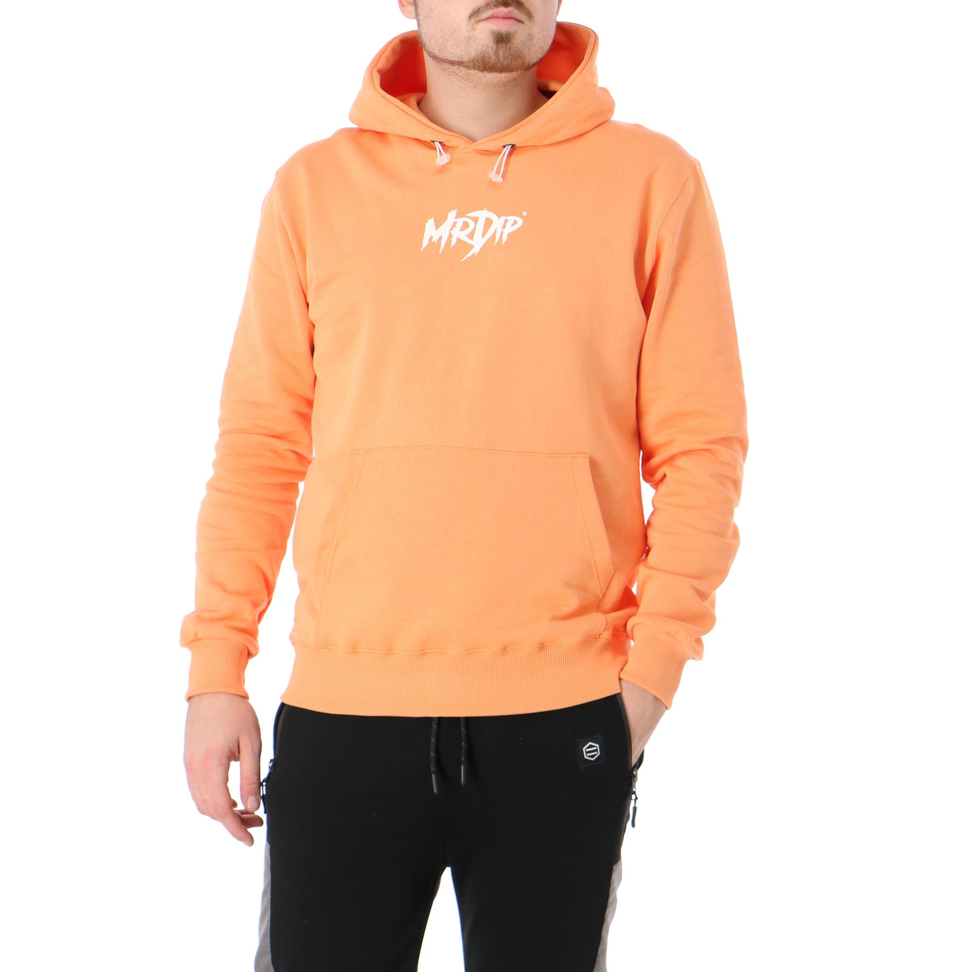 Mr Dip Basic Logo Hoodie Salmon white