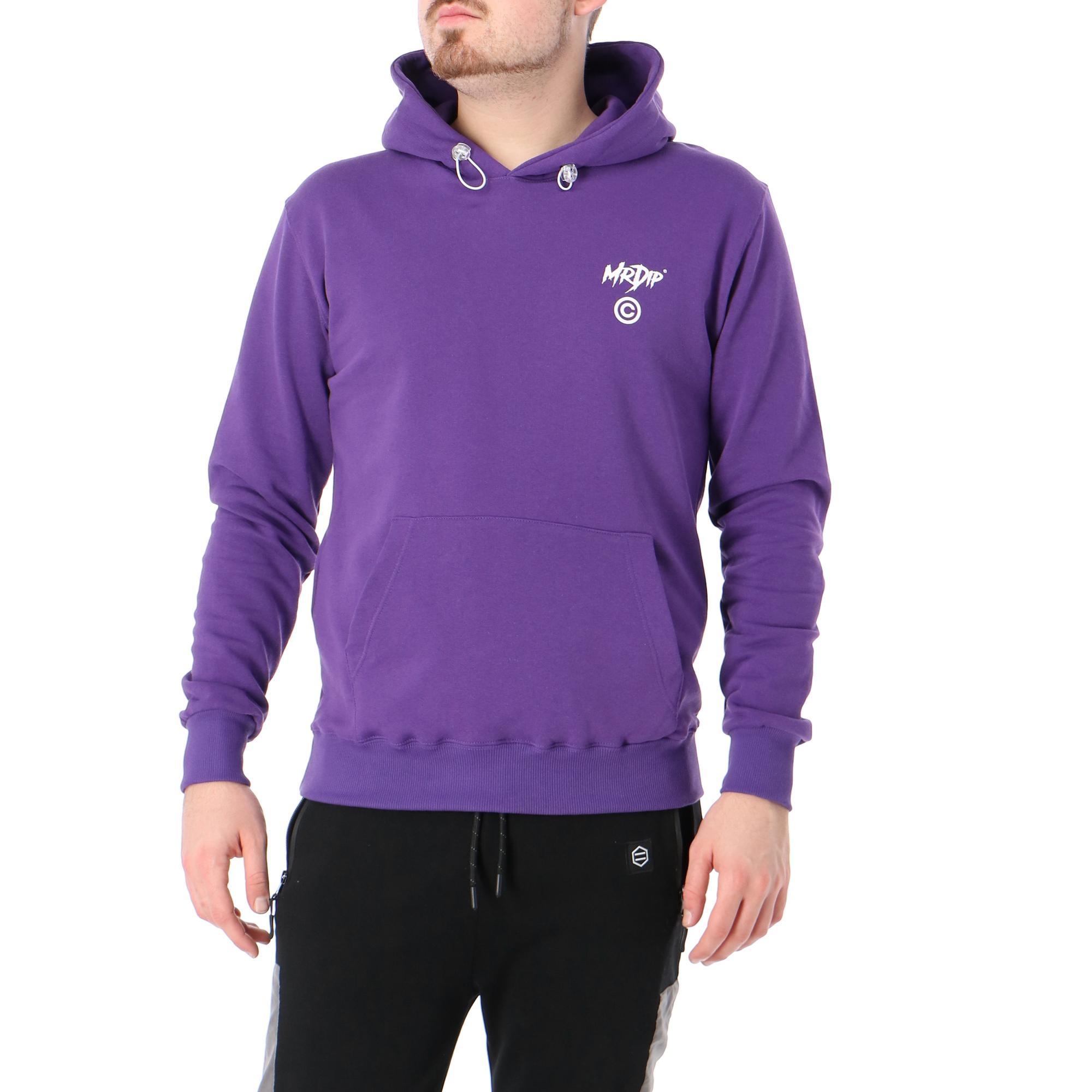 Mr Dip Info Hoodie Purple white