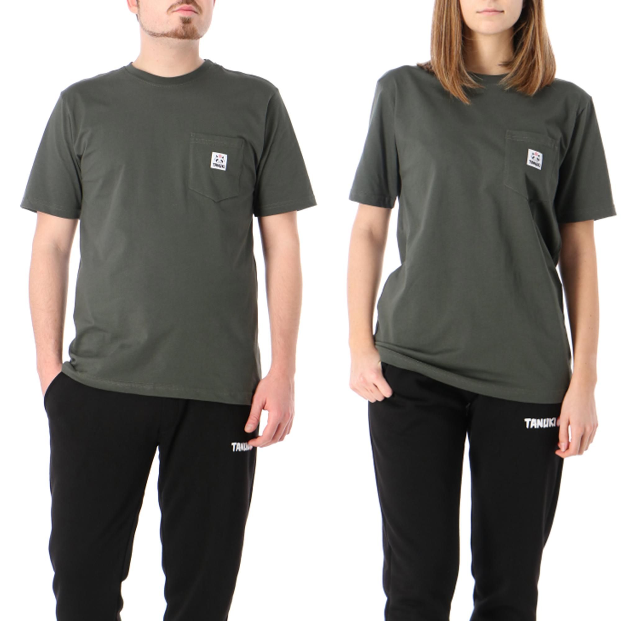 Tanuki Pocket Label Tee Green military