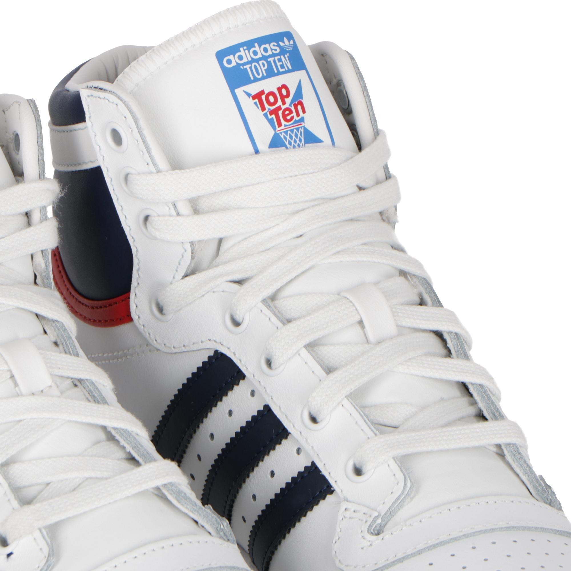 finest selection 45db4 dc05c Adidas Top Ten Hi - Kids White navy collegiate red