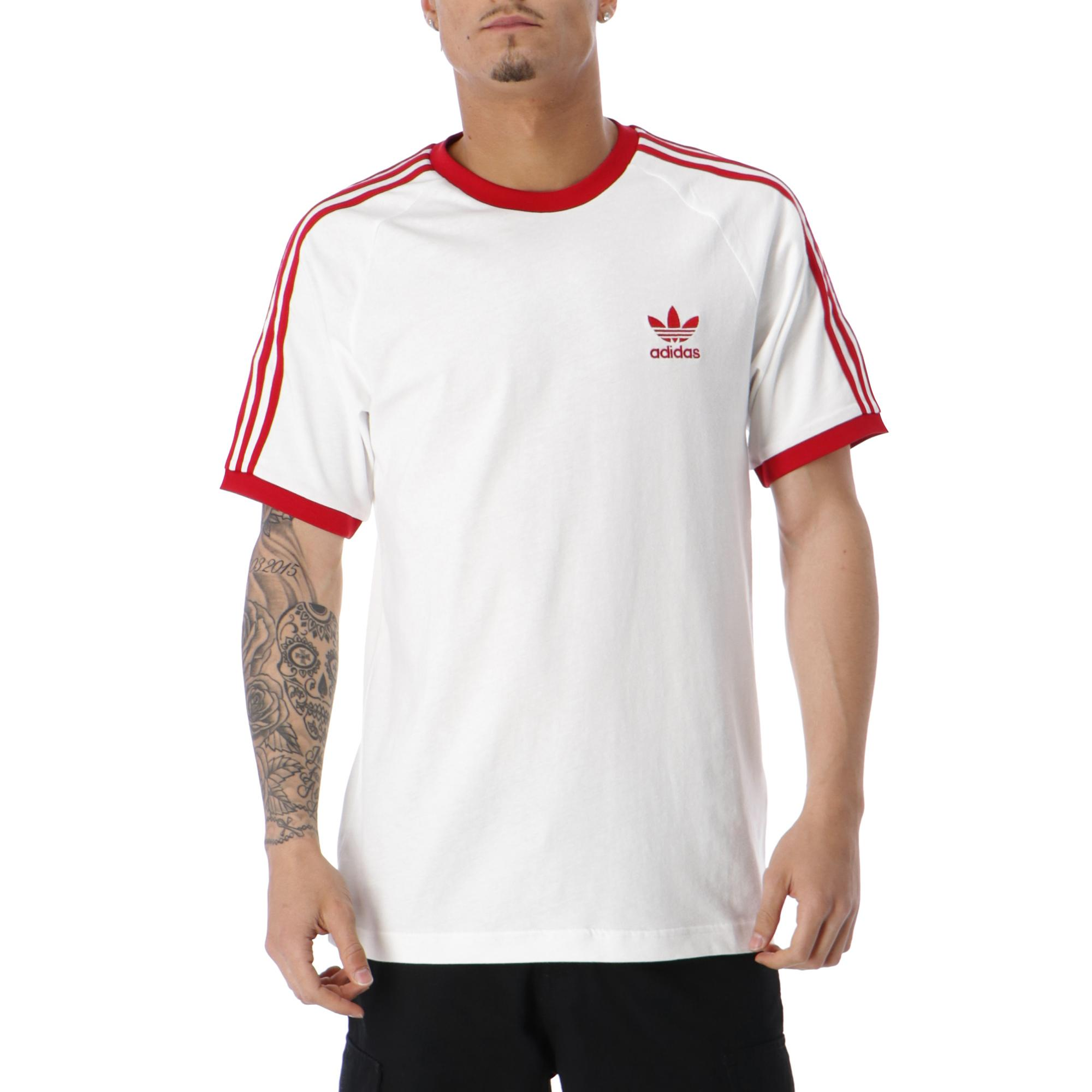 2103e26b181 MAN SHORT SLEEVE TEE. Adidas 3 Stripes T-shirt White power red