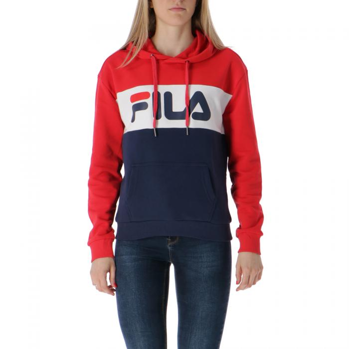 fila felpa cappuccio black red white