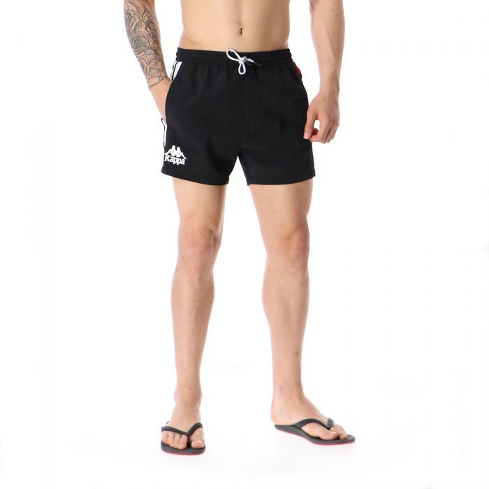 kappa beachwear black red white
