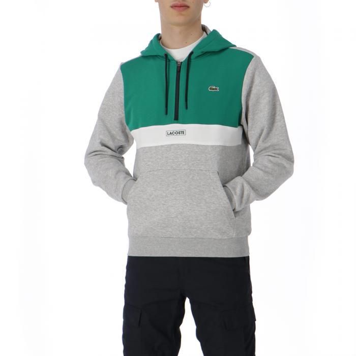 lacoste felpe grey green white