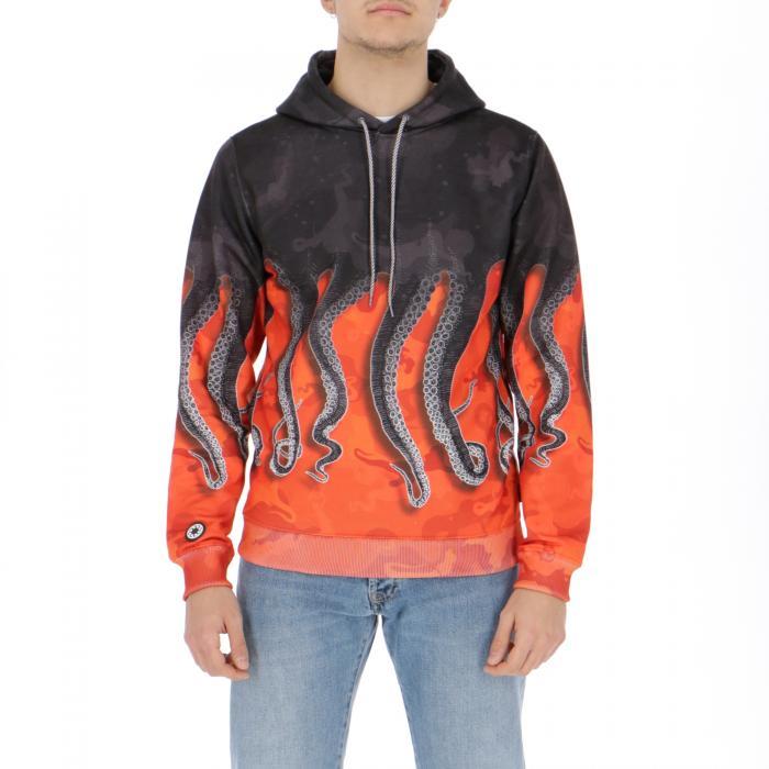 octopus felpa cappuccio camo orange