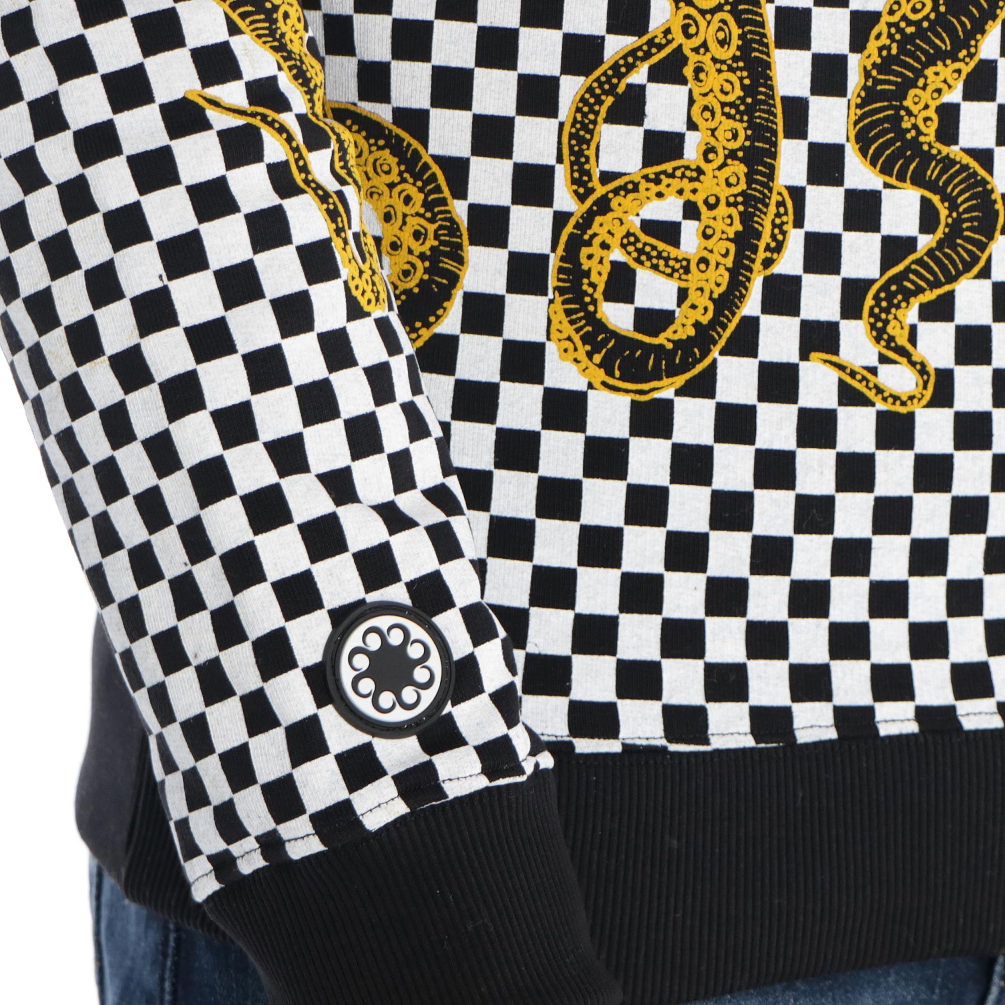 Octopus Checker Hoodie Black yellow