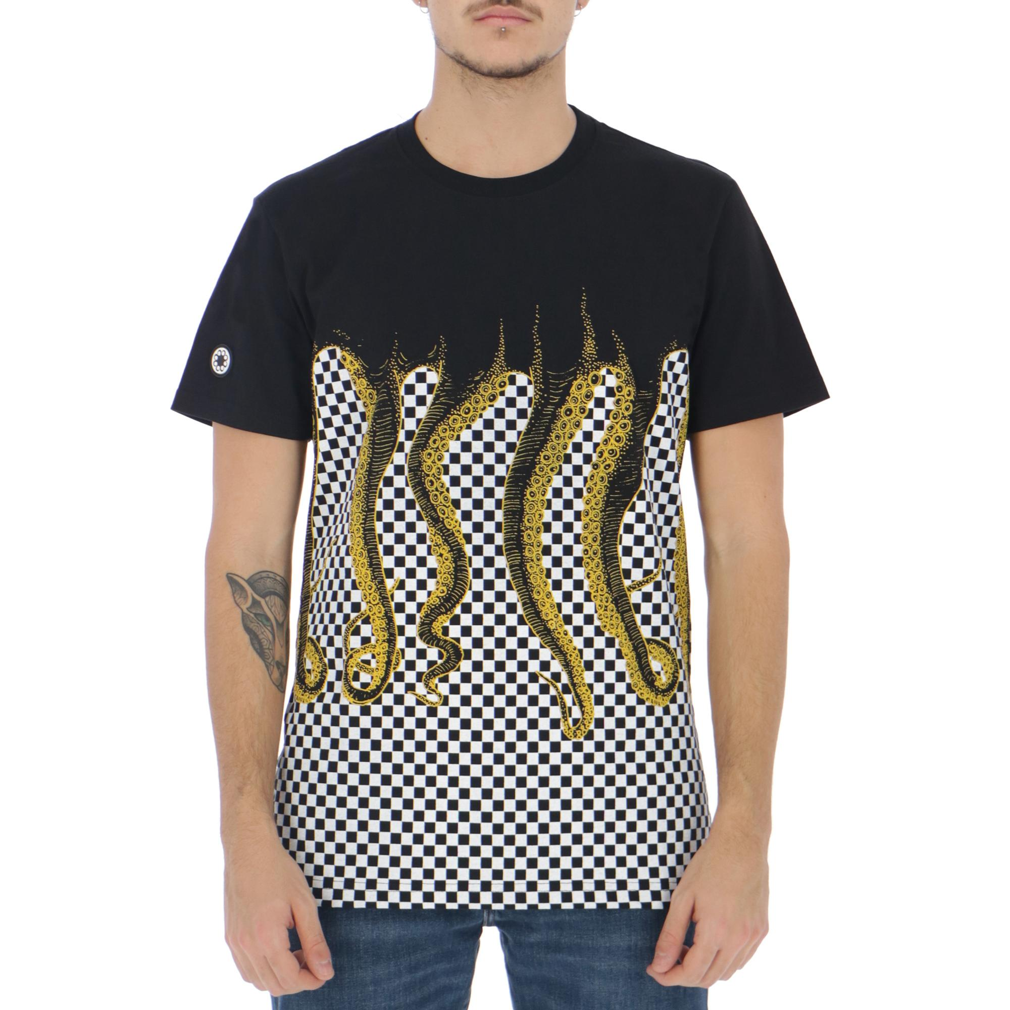 Octopus Checkered Tee Black yellow