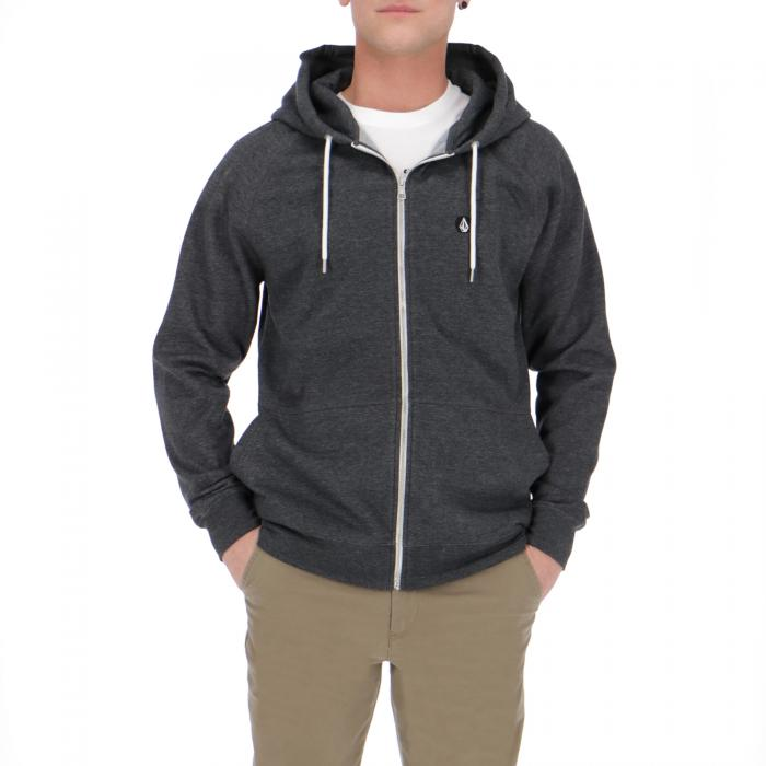 volcom felpa zip heather black
