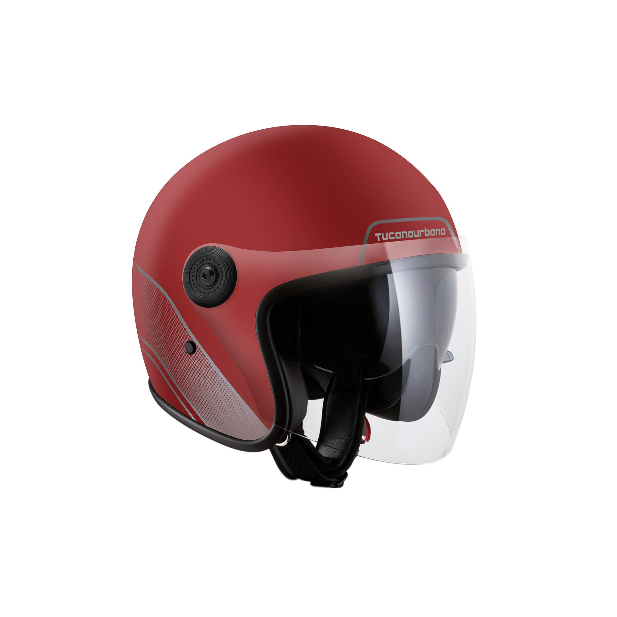 Casco Jet El'jet Biking Red Opaco Grafica Grigia