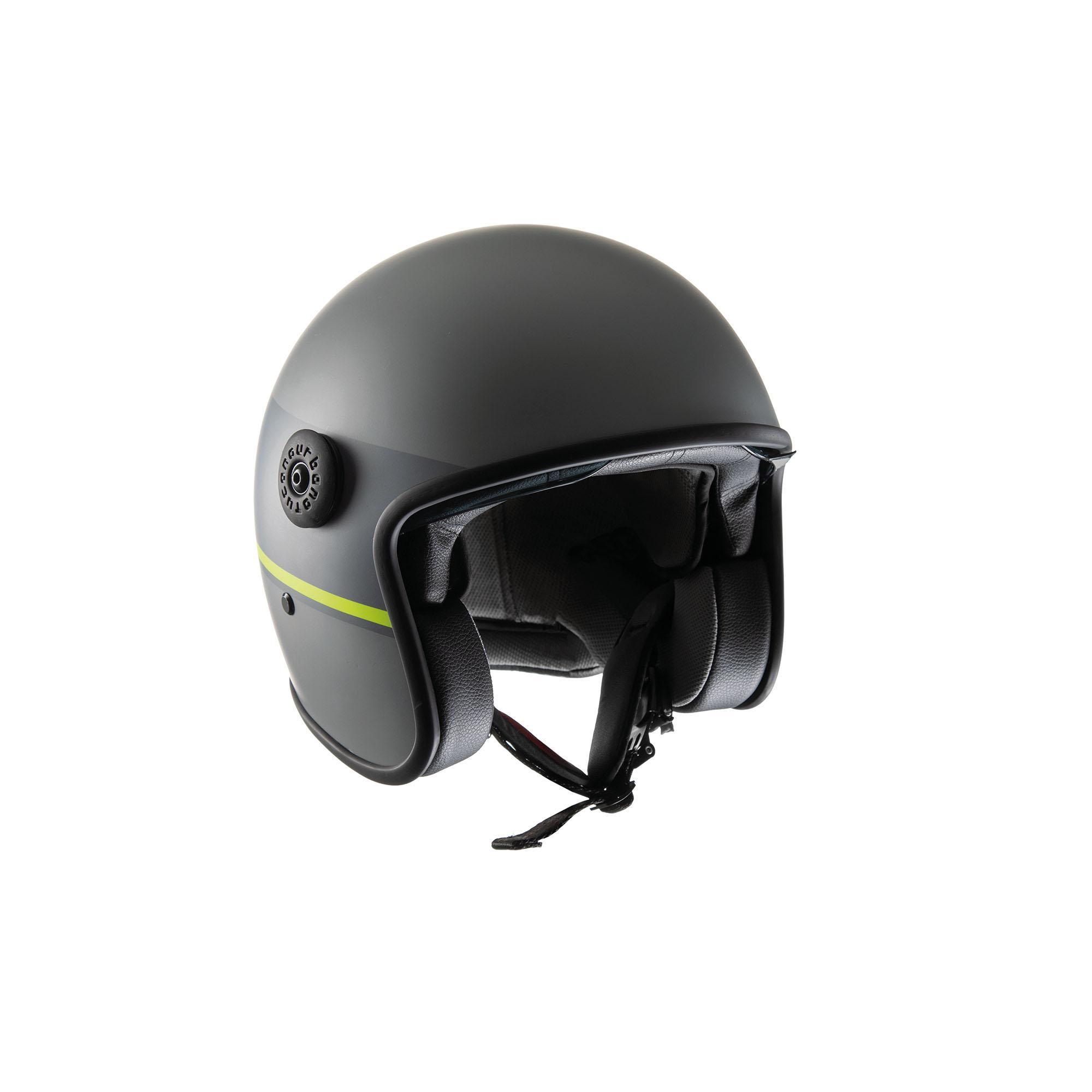 Jet Helmet El'jet Matte Grey Yellow Line