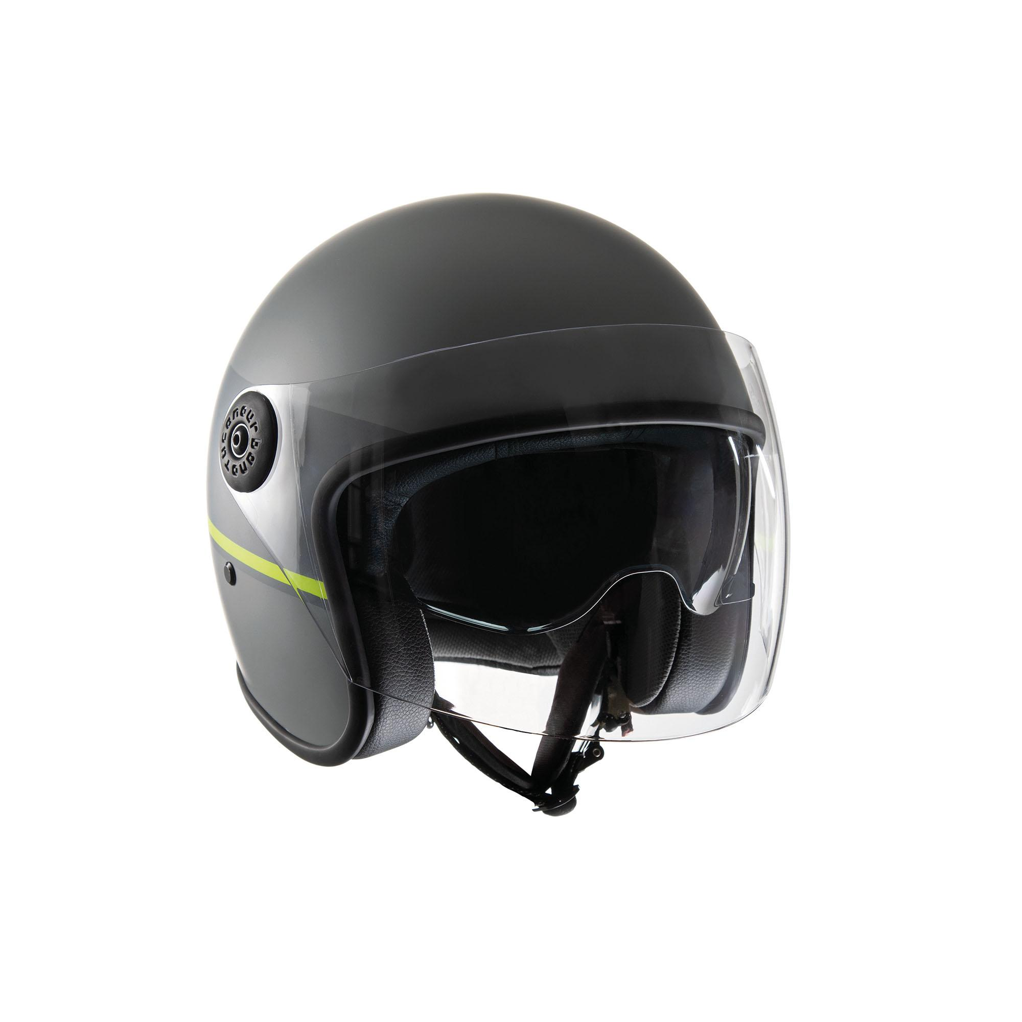Casco Jet El'jet Grey Yellow Line Opaco