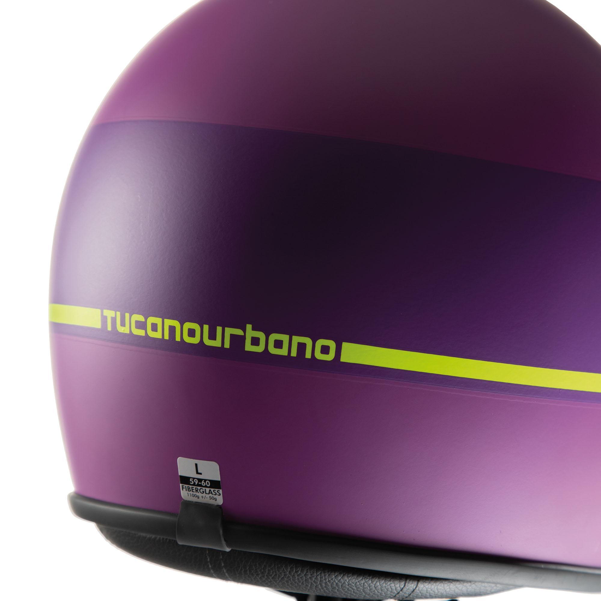 Casco Jet El'jet Violet Yellow Line Opaco