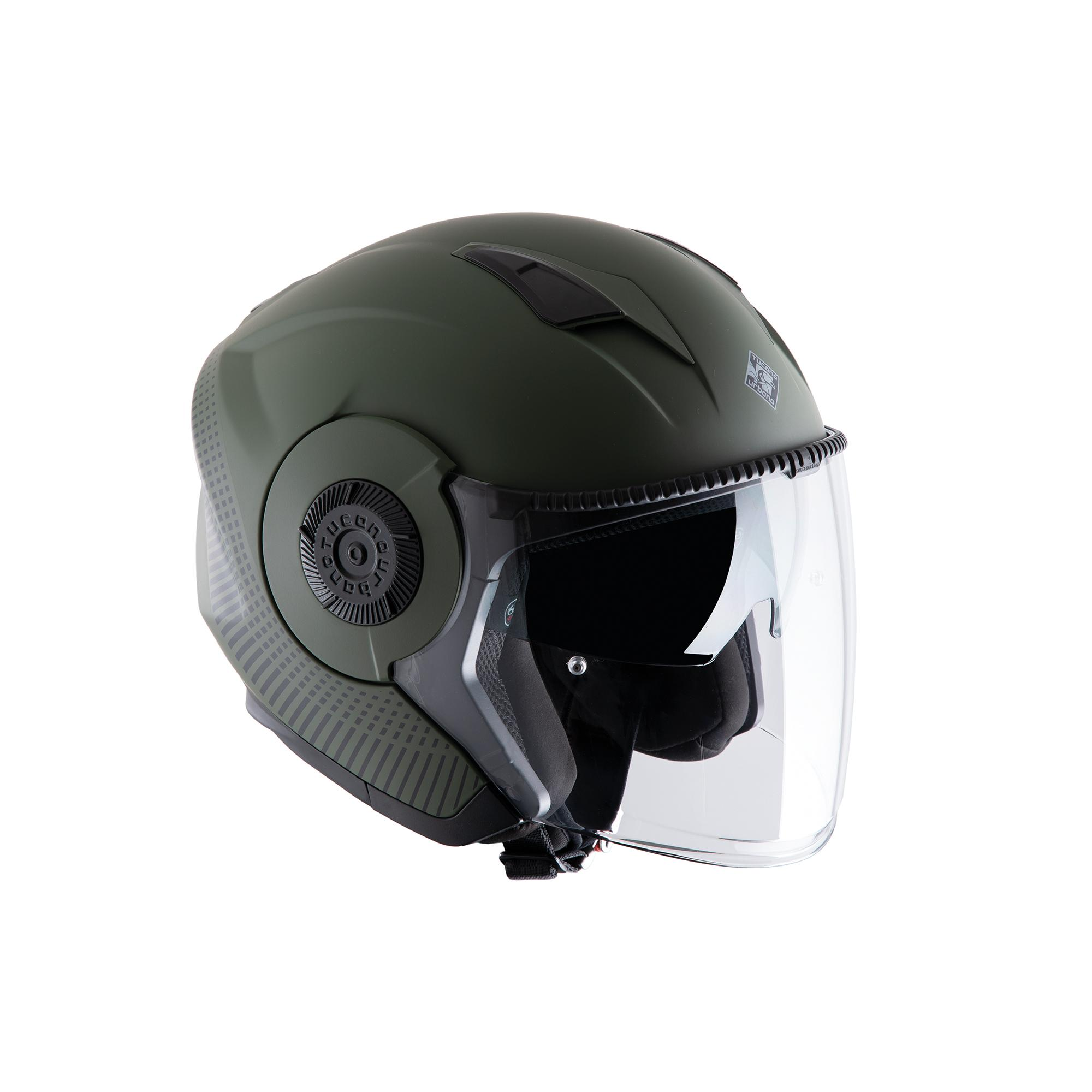Casco Jet El'tange Airborne Green Graphic–A Opaco