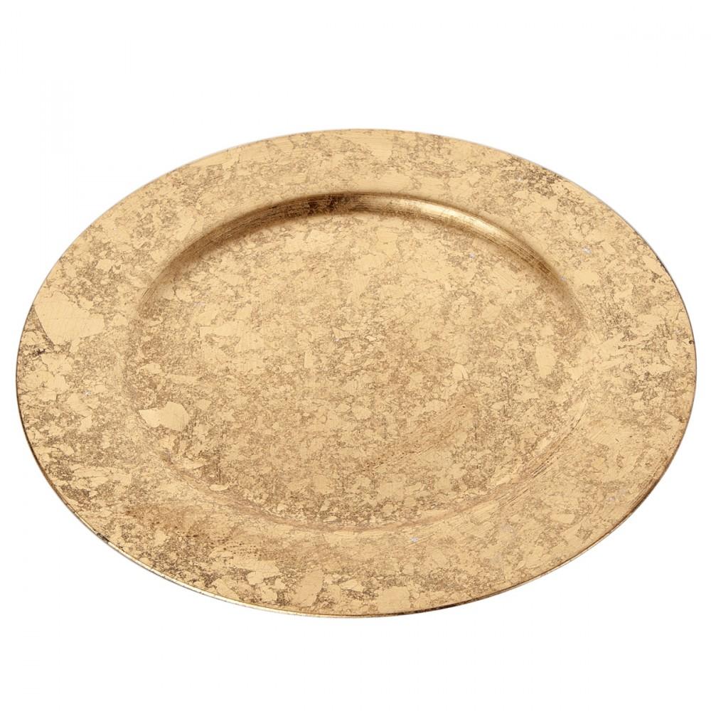 Sottopiatto In Plastica Decorato Foglia Oro. Diametro 33 Cm. Non Adatto All'uso Alimentare.