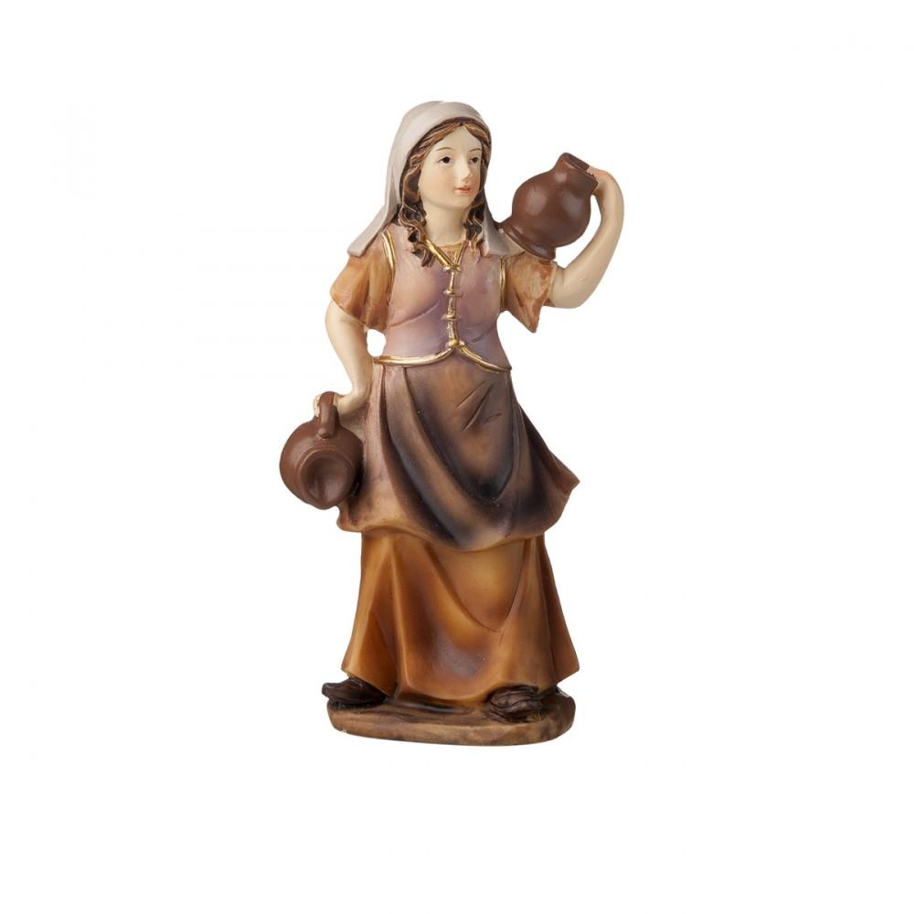 Donna Con Brocche In Resina Per Presepe H12