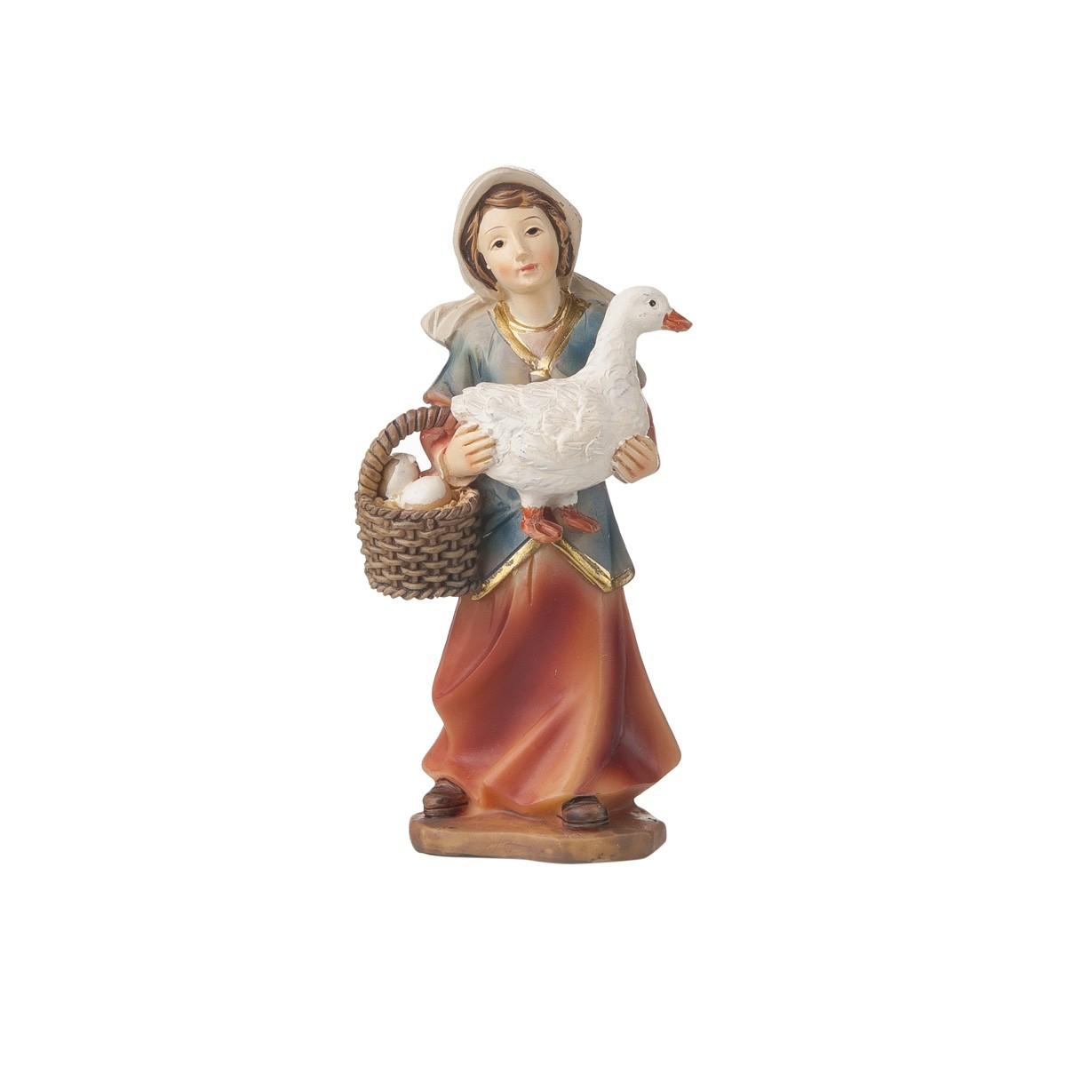 Statuetta Donna Con Oca E Uova H12
