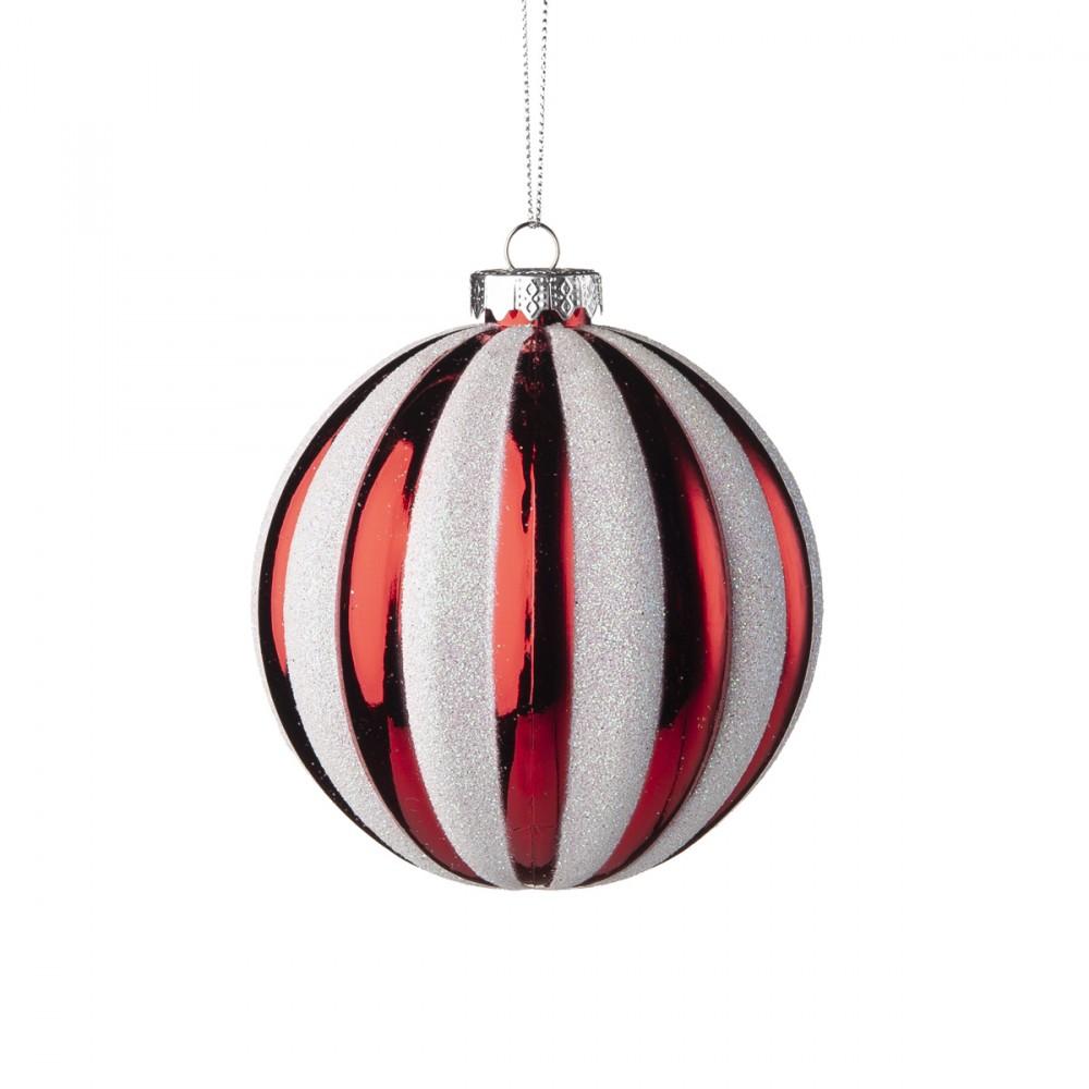Sfera Appendibile In Vetro Rosso Lucido Con Spicchi In Colore Bianco Glitterato. Diametro 10 Cm.