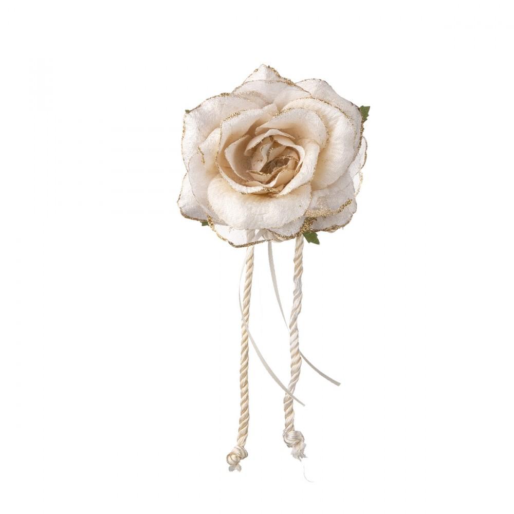 Rosa Appendibile In Tessuto Color Crema Con Clip. Diametro 12 Cm.