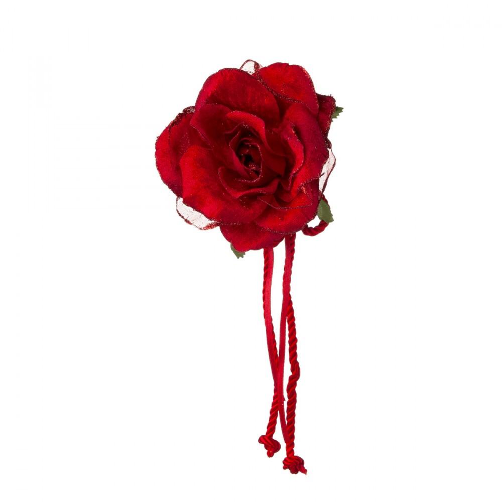 Rosa Appendibile In Tessuto Rossa Con Clip. Diametro 12 Cm.