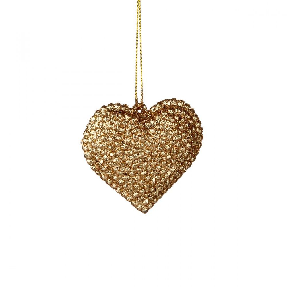 Cuore Appendibile In Plastica Glittera In Colore Oro. Larghezza 6 Cm.