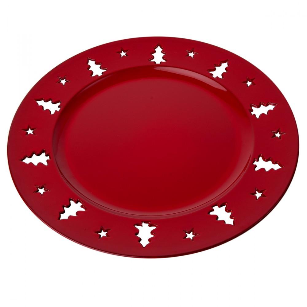 Sottopiatto Rosso In Plastica Con Decorazioni Traforate. Diametro 33 Cm. Non Adatto All'uso Alimentare.