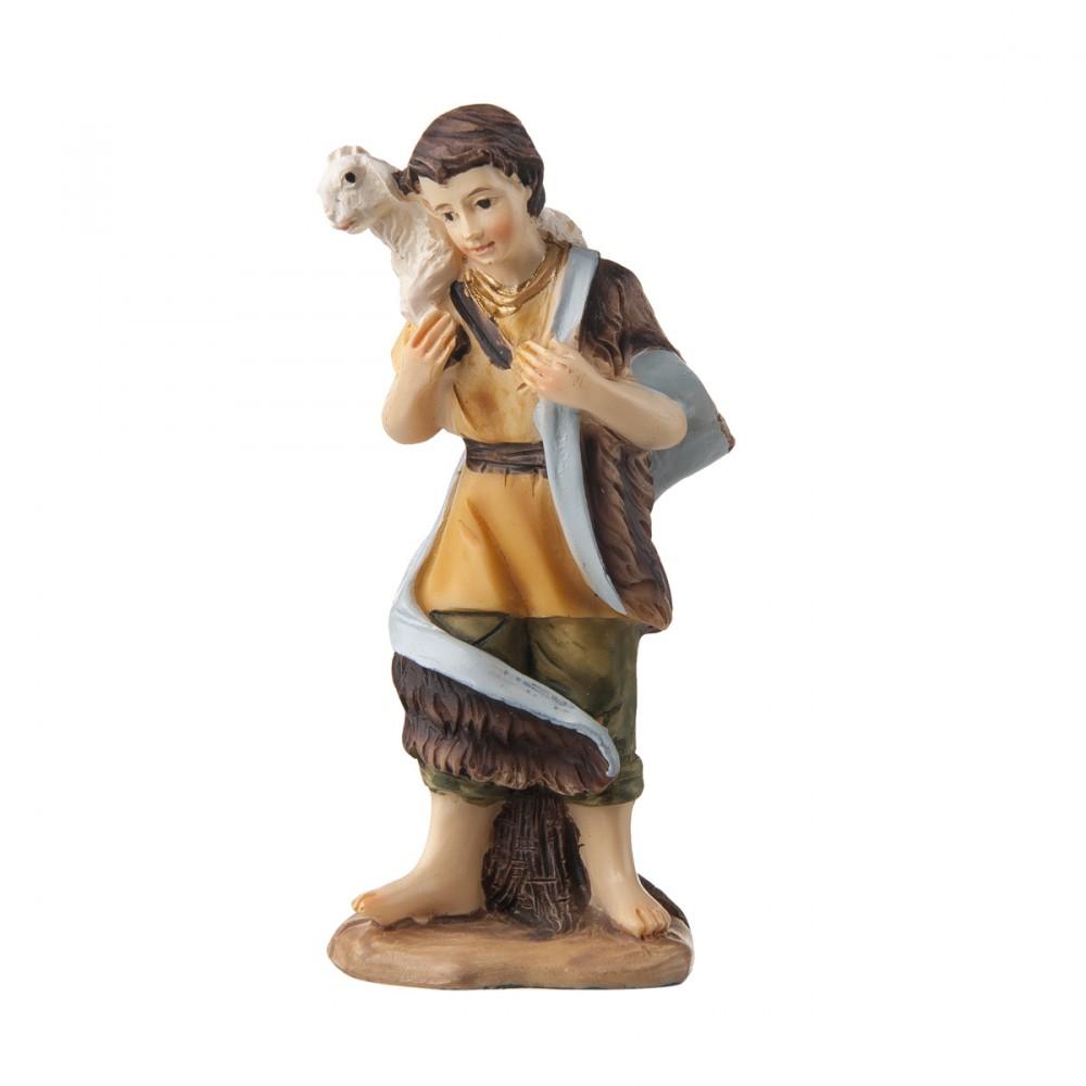 Pastore Con Pecora In Resina Per Presepe H9