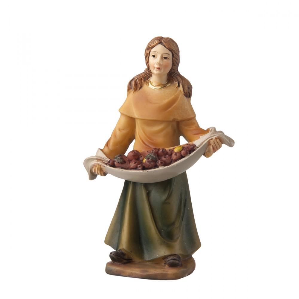 Donna Con Frutta In Resina Per Presepe H9