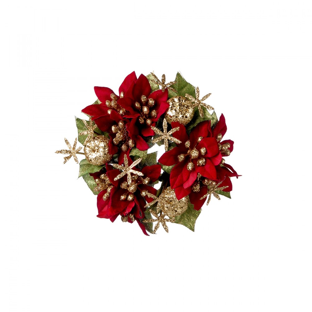 Candle Ring Con Stelle Di Natale E Glitter Oro. Foro Candela 3 Cm; Diametro 11 Cm.
