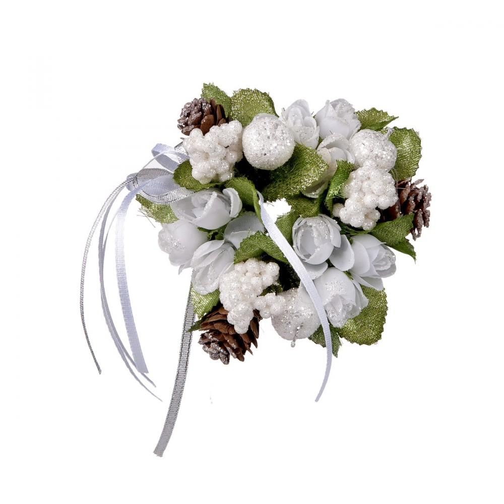 Candle Ring Bianco Con Pigne E Glitter. Foro Candela 2,5 Cm; Diametro 11 Cm.