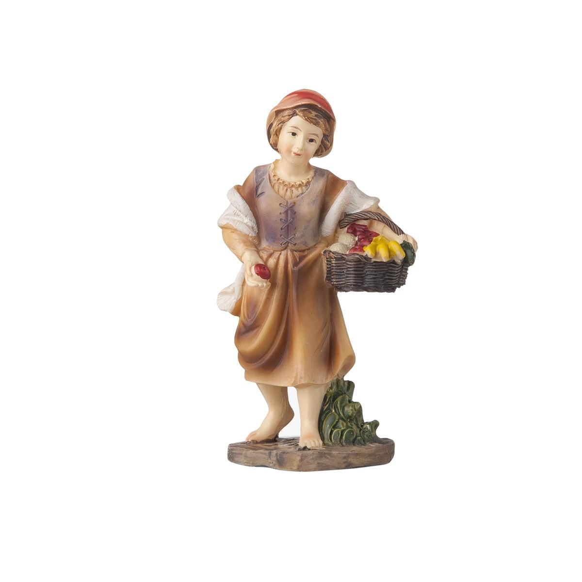 Statuetta Donna Con Cesto Di Verdure H12