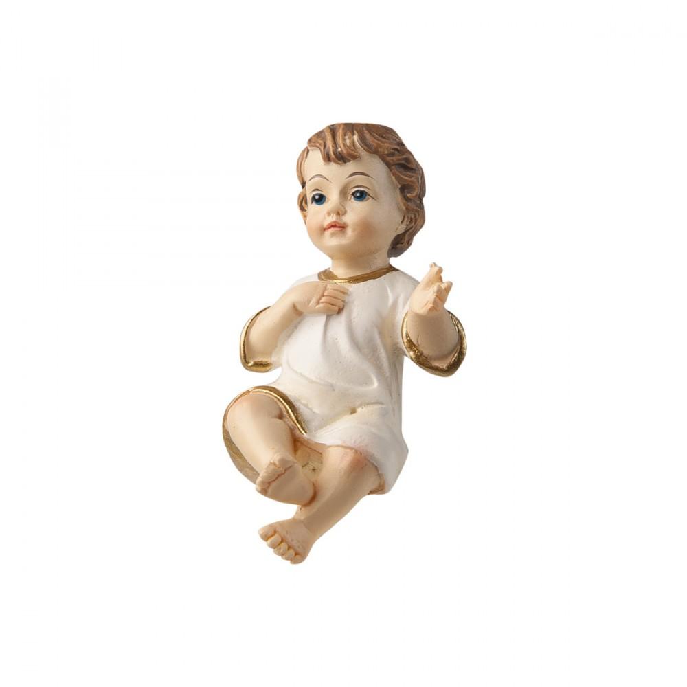 Gesù Bambino Con Veste Bianca In Resina Lunghezza 6 Cm
