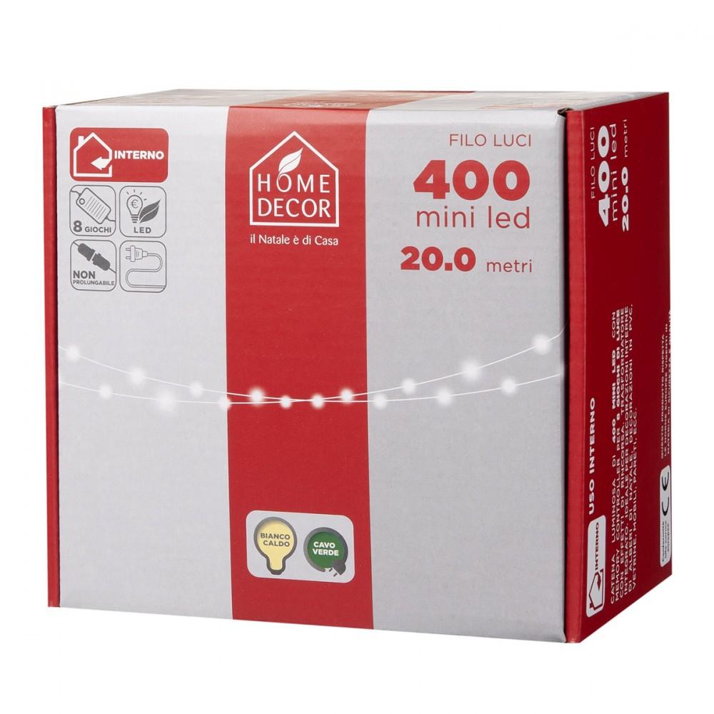 Catena Da 400 Mini Led Con Luce Bianco Caldo E Cavo Verde. Luminaria Per Interno Con 8 Giochi Di Luce.