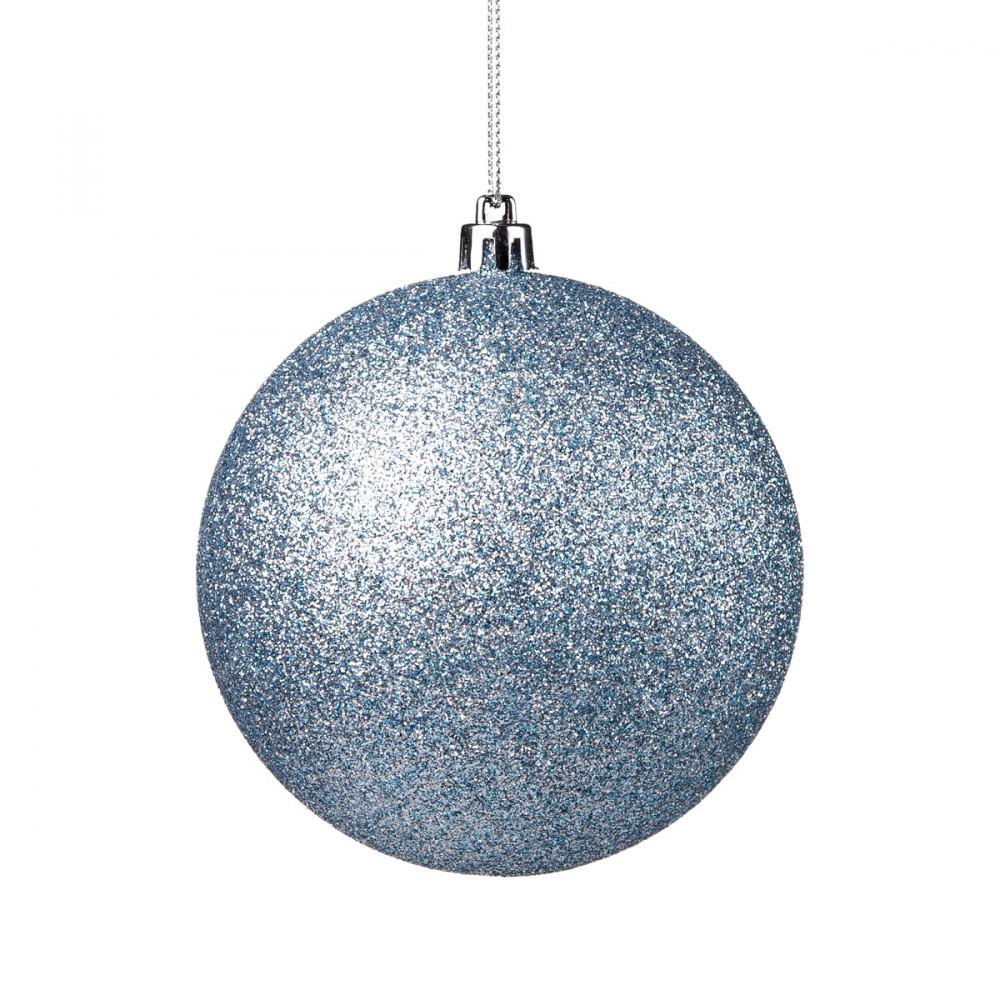 Sfera Appendibile In Plastica Con Glitter Color Azzurro Chiaro. Diametro 10 Cm.