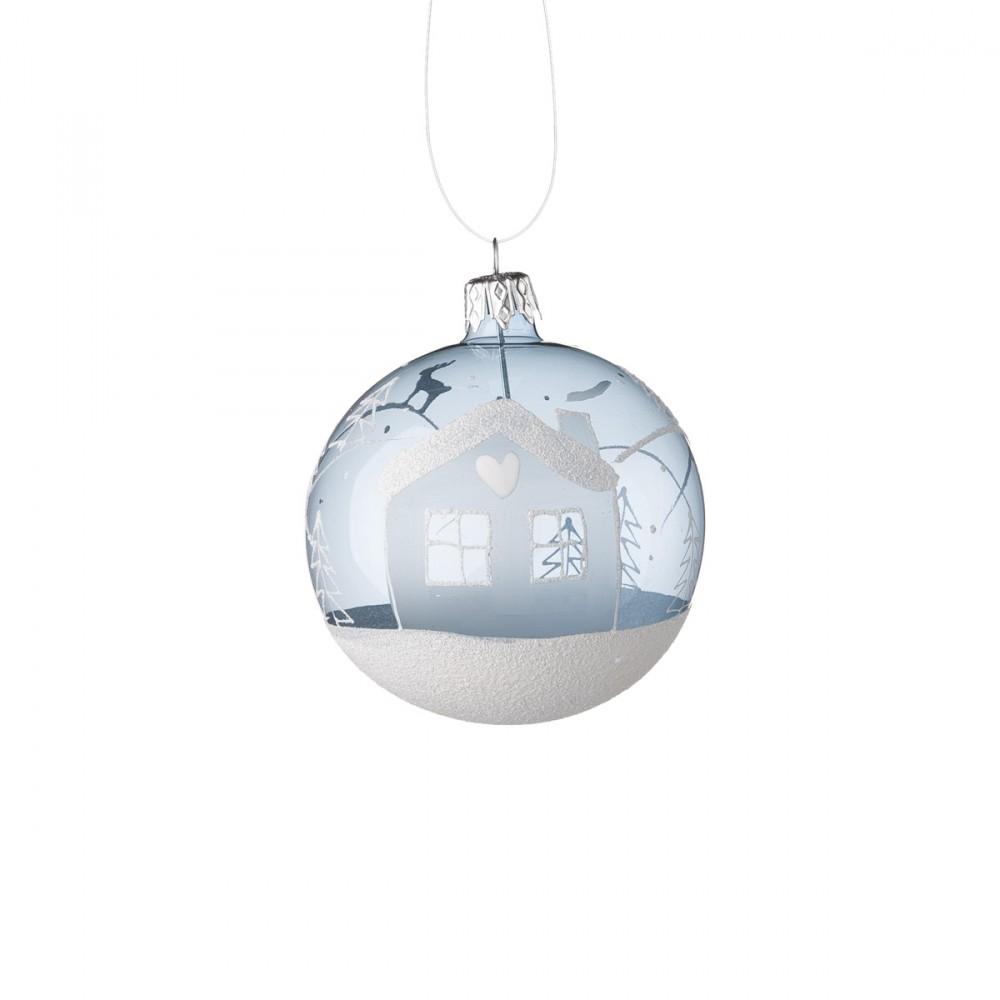 Sfera Appendibile In Vetro Trasparente Azzurro, Soffiato E Decorato A Mano Con Casetta Glitterata. Diametro 8 Cm.