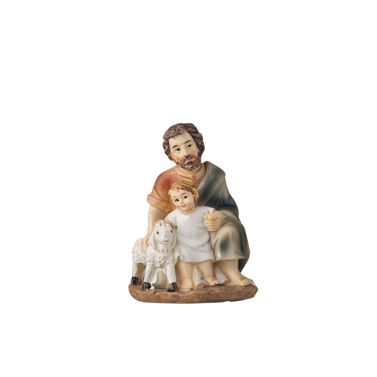 Statuetta Pastore Con Bimbo E Pecora H12